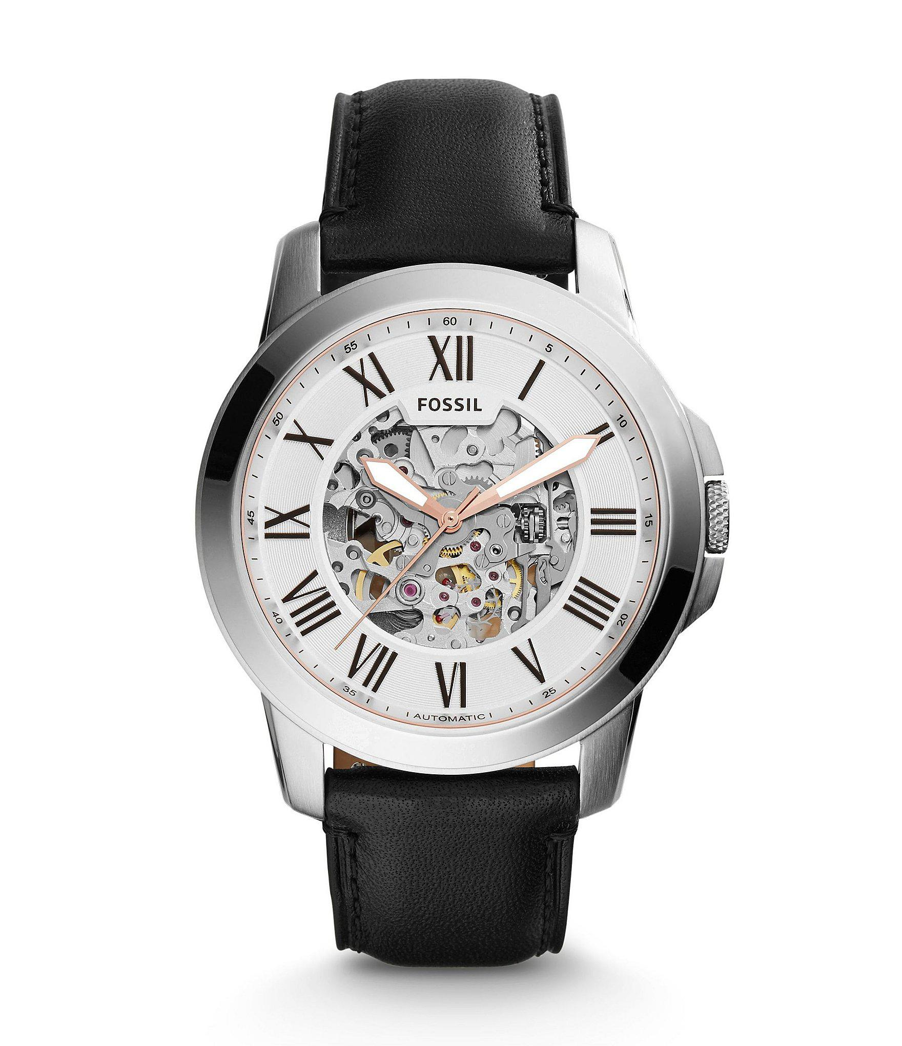 Lyst Fossil Grant Automatic Stainless Steel Watch In Black For Men Fs4736 View Fullscreen