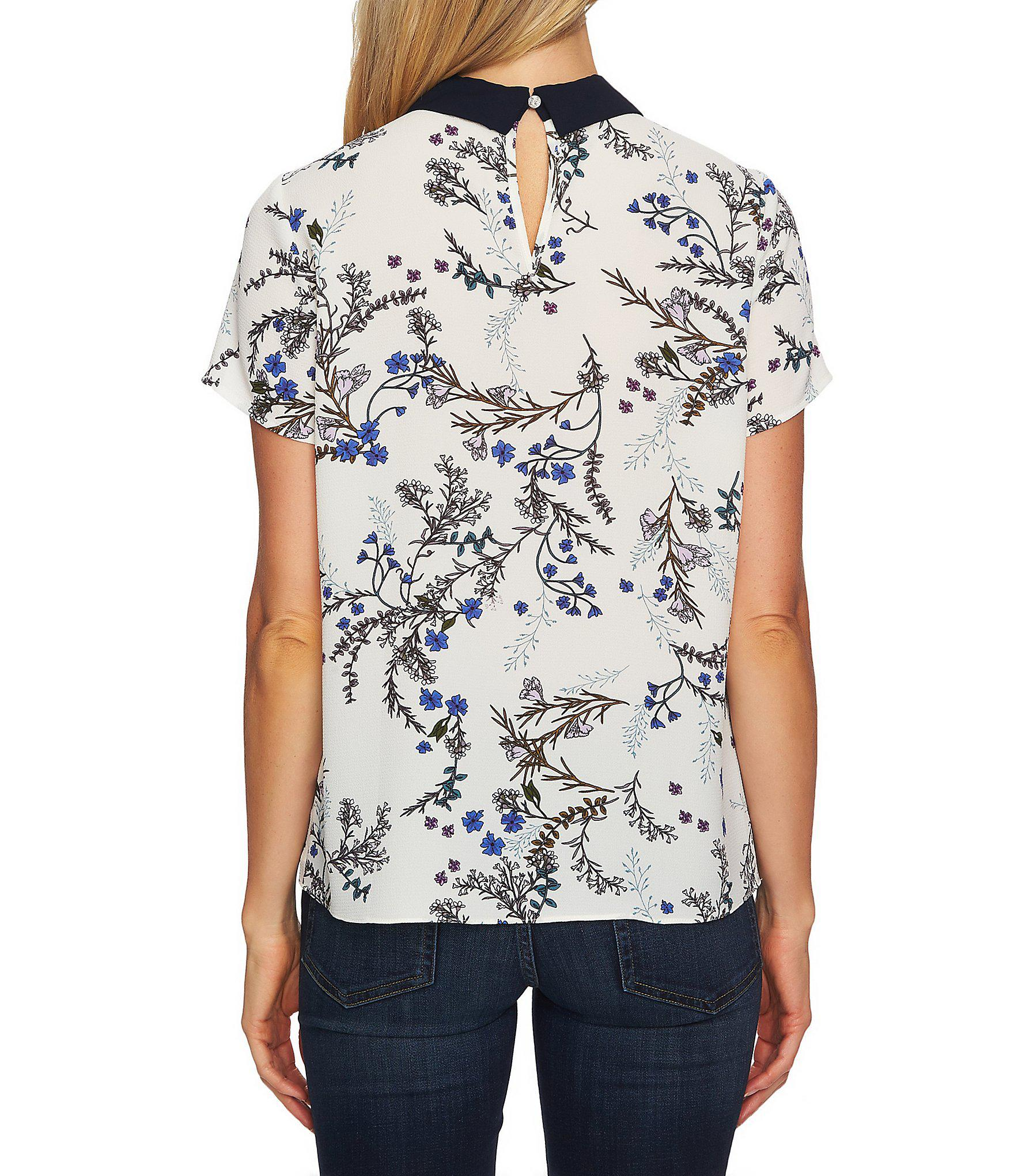 998efd65e67d66 Lyst - Cece Floral Print Peter Pan Collar Blouse in White