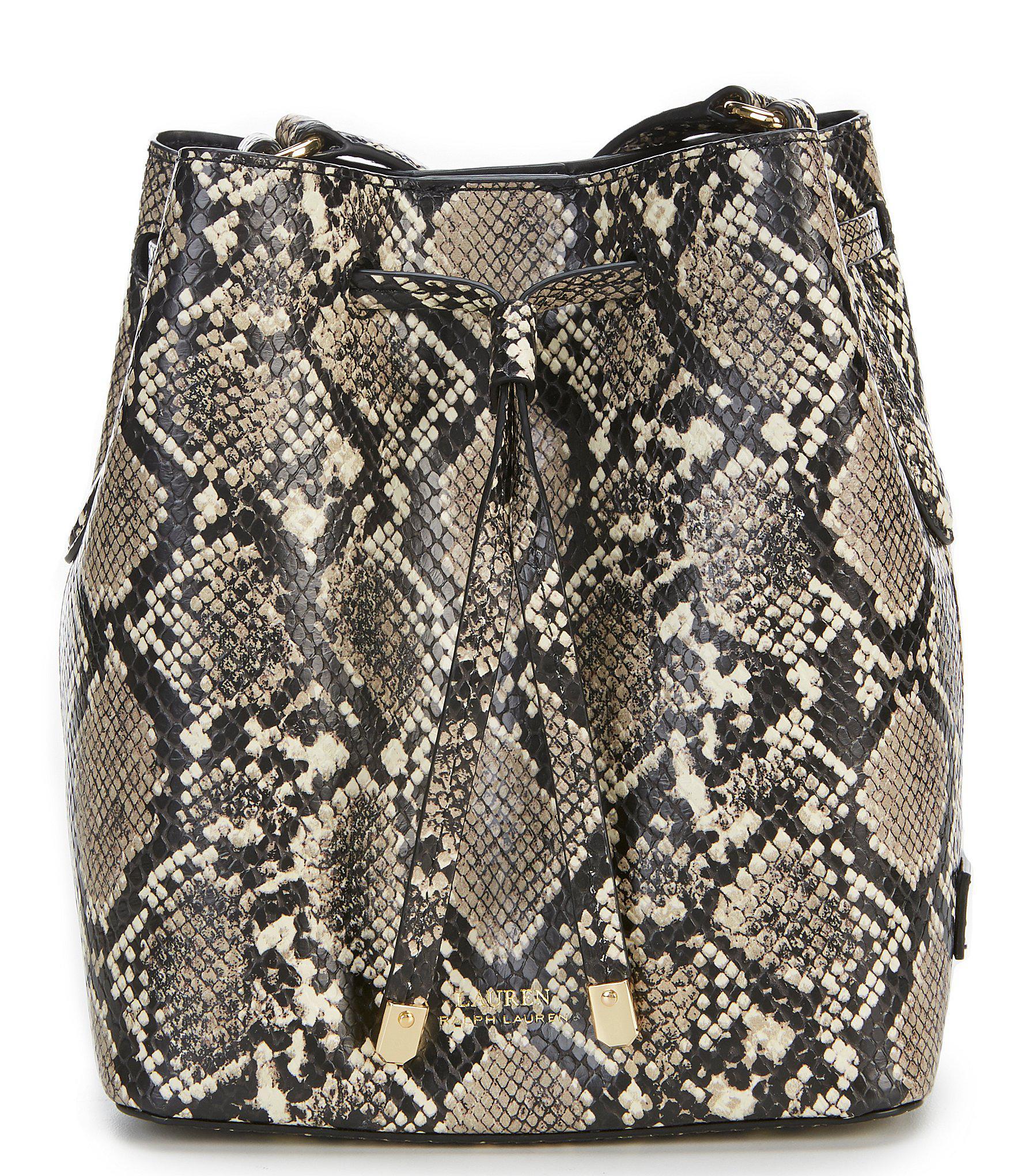 fd6e794a9f51 Lauren by Ralph Lauren. Women s Black Mini Debby Snake-embossed Drawstring  Bag