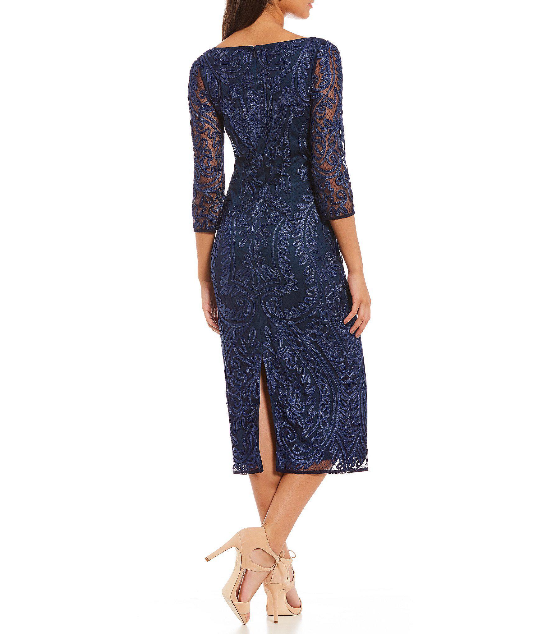 89e8fb09b2 JS Collections Scoop Neck Soutache Sheath Midi Dress in Blue - Lyst
