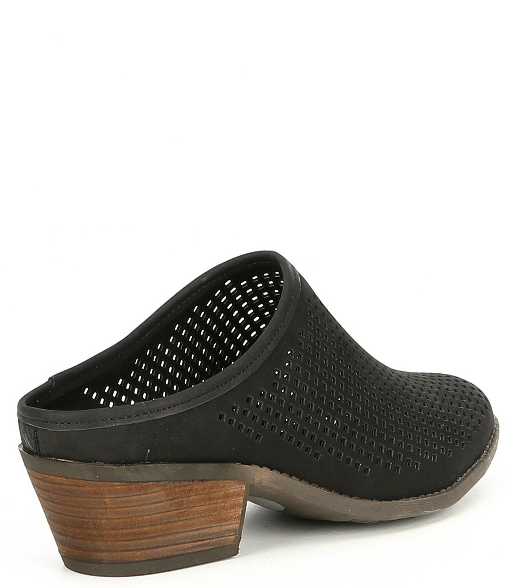3bc4b5b4 Me Too By Adam Tucker Zara Nubuck Perforated Block Heel Mules in ...