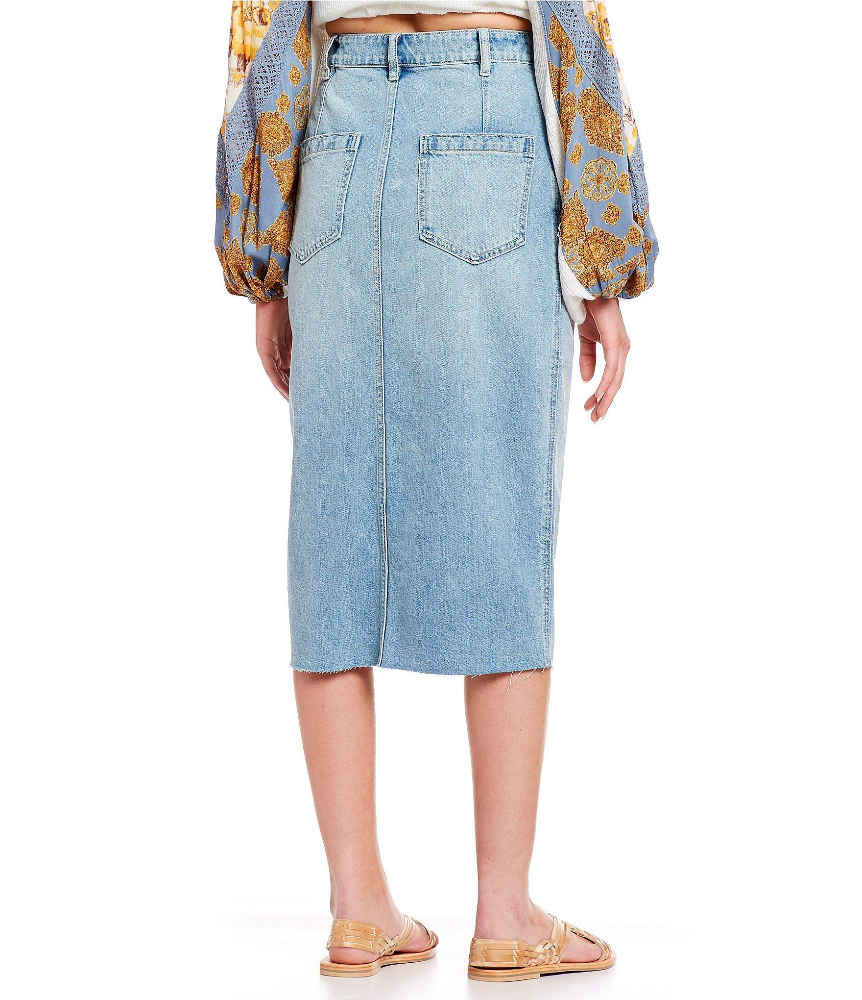 fc32f8bf75 Free People - Blue Wilshire Denim Body Skimming Skirt - Lyst. View  fullscreen