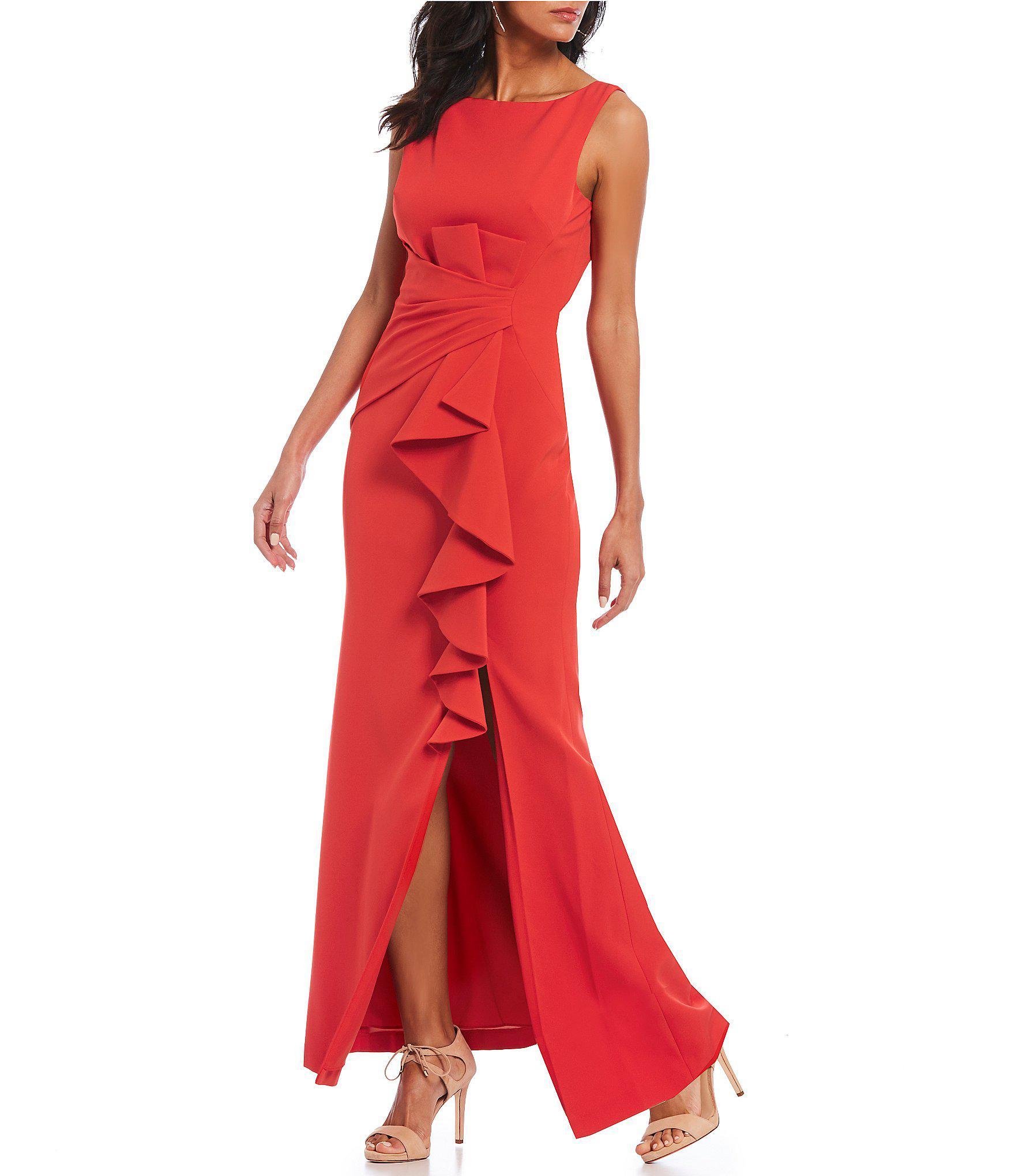 1eddfe53844 Eliza J Ruffle Front Slit Sheath Gown in Red - Lyst