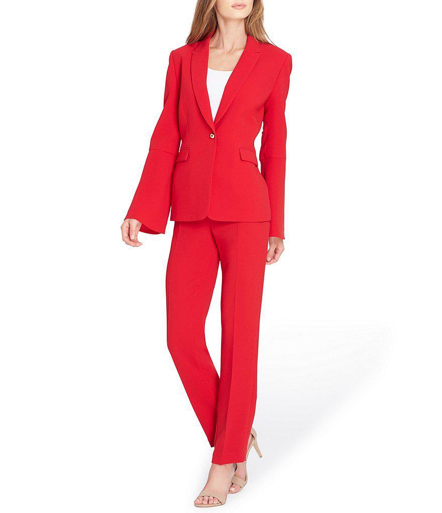 ed3e1800270 Tahari Petite Bell-sleeve Crepe Pant Suit in Red - Lyst