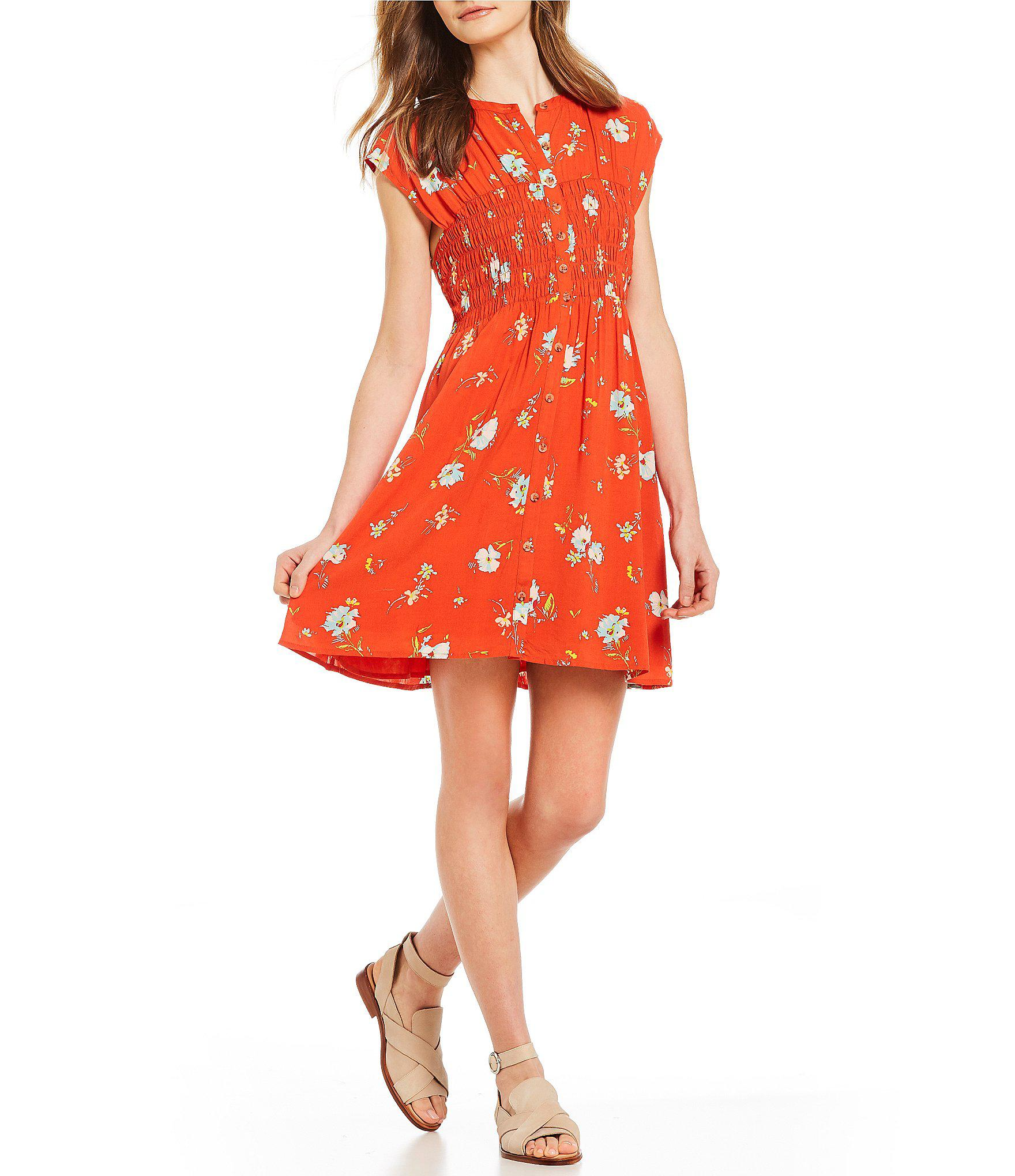 c73005cfa88a Lyst - Free People Greatest Day Smocked Floral Print Mini Dress in Red