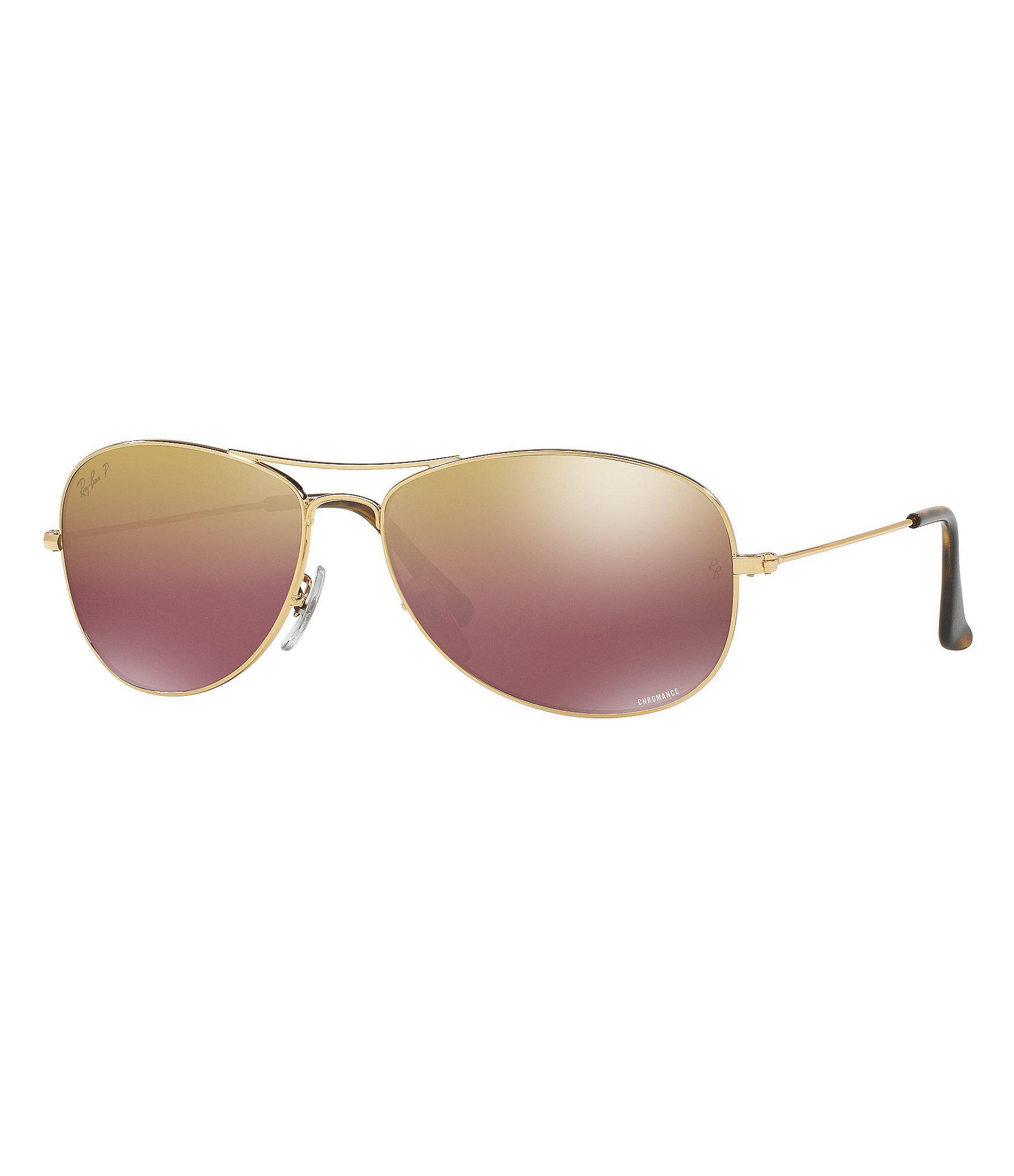 806c23aa46b Ray-Ban. Men s Metallic Chromance Polarized Mirrored Aviator Sunglasses