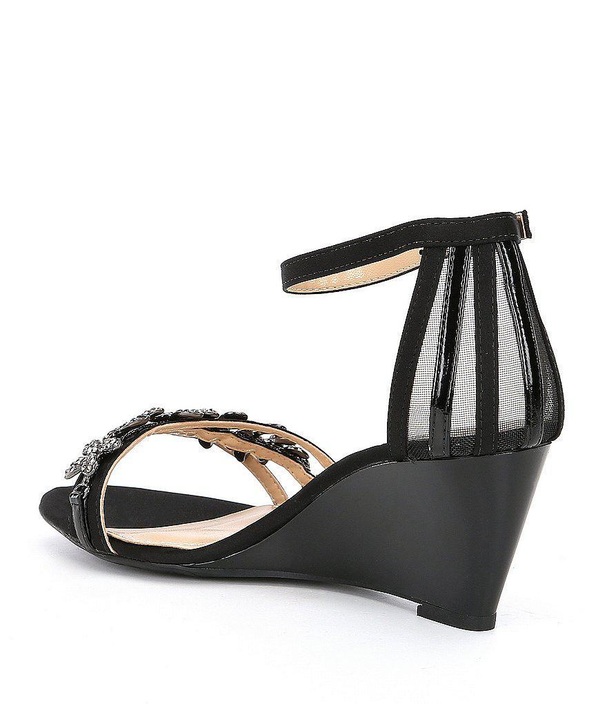 Mariabella Satin and Mesh Rhinestone Ornament Ankle Strap Dress Wedges 3HgchKG