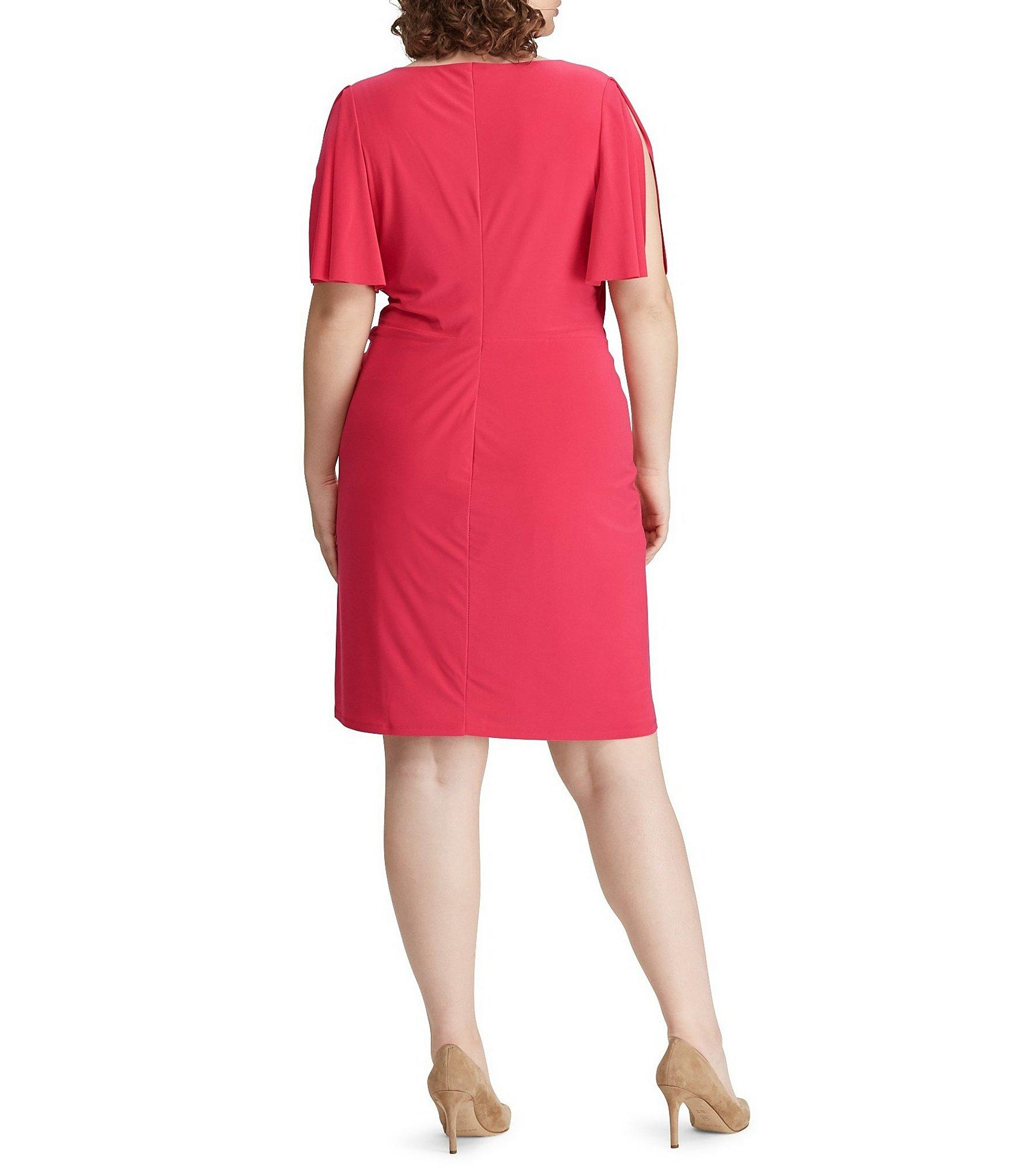 4089bddec00 Lyst - Lauren by Ralph Lauren Plus Size Twisted Knot Jersey Dress in Red