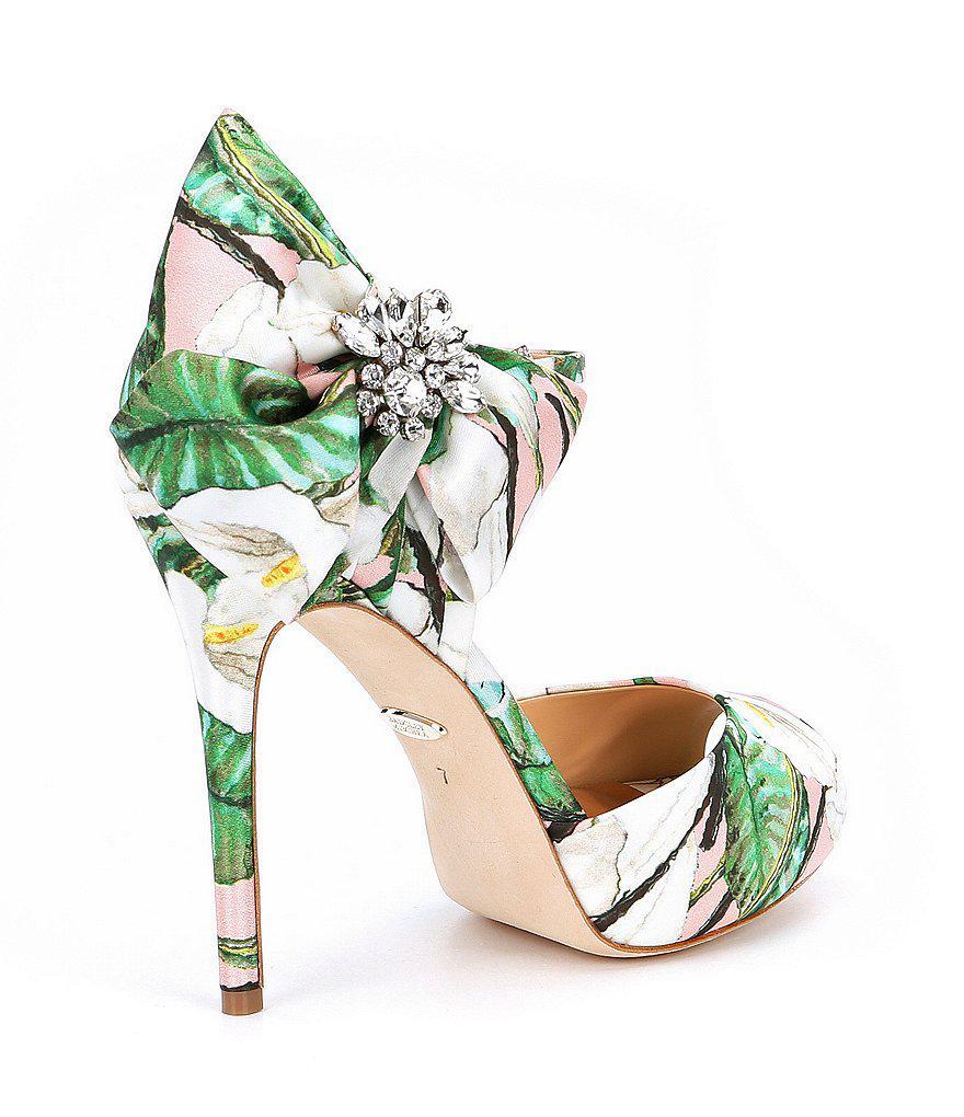 Badgley Mischka Samra Floral Satin Bow Rhinestone Detail Dress Sandals ZElbI4