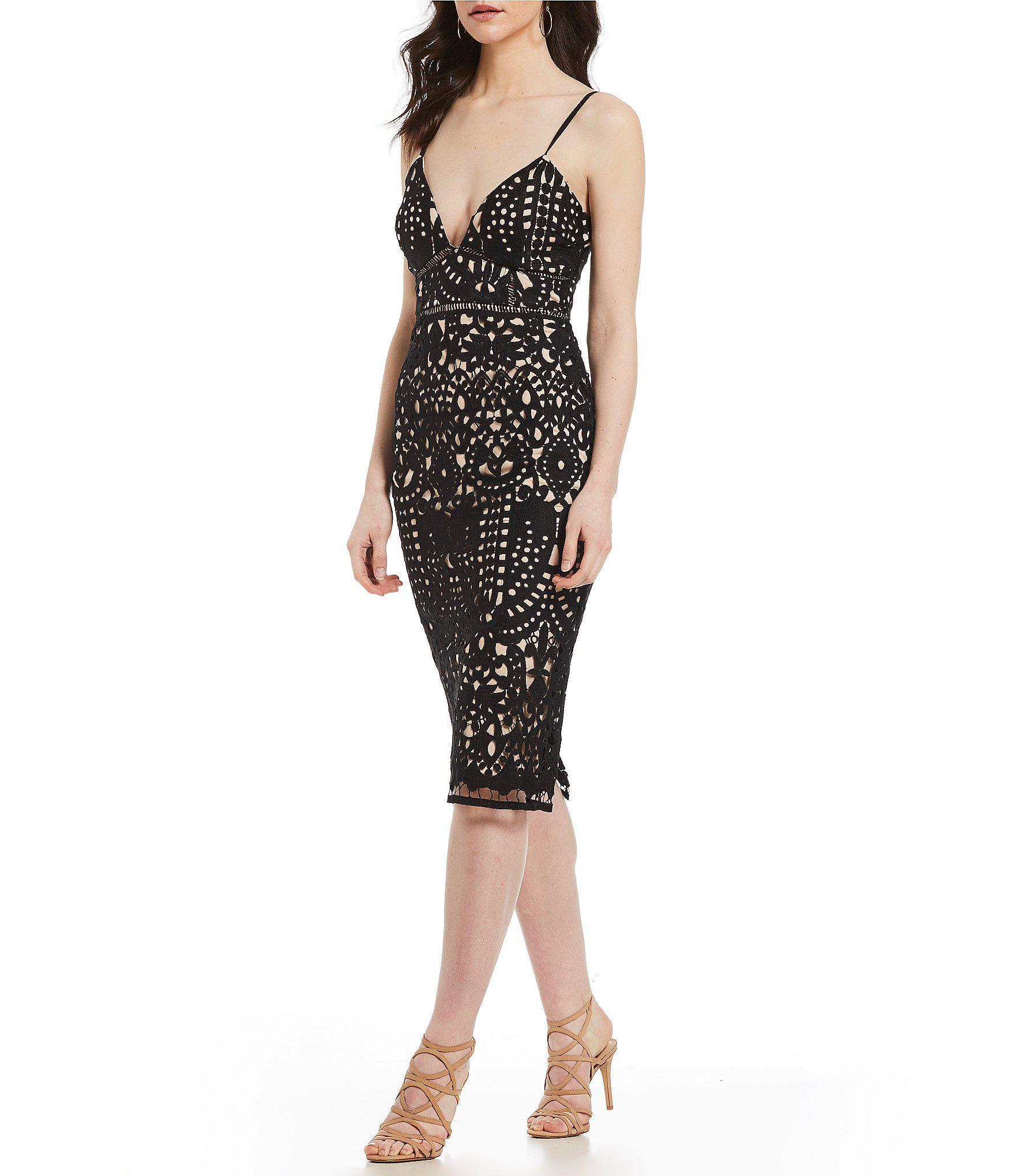 4edda8460fb Gianni Bini Maura Fitted Lace Midi Dress in Black - Lyst