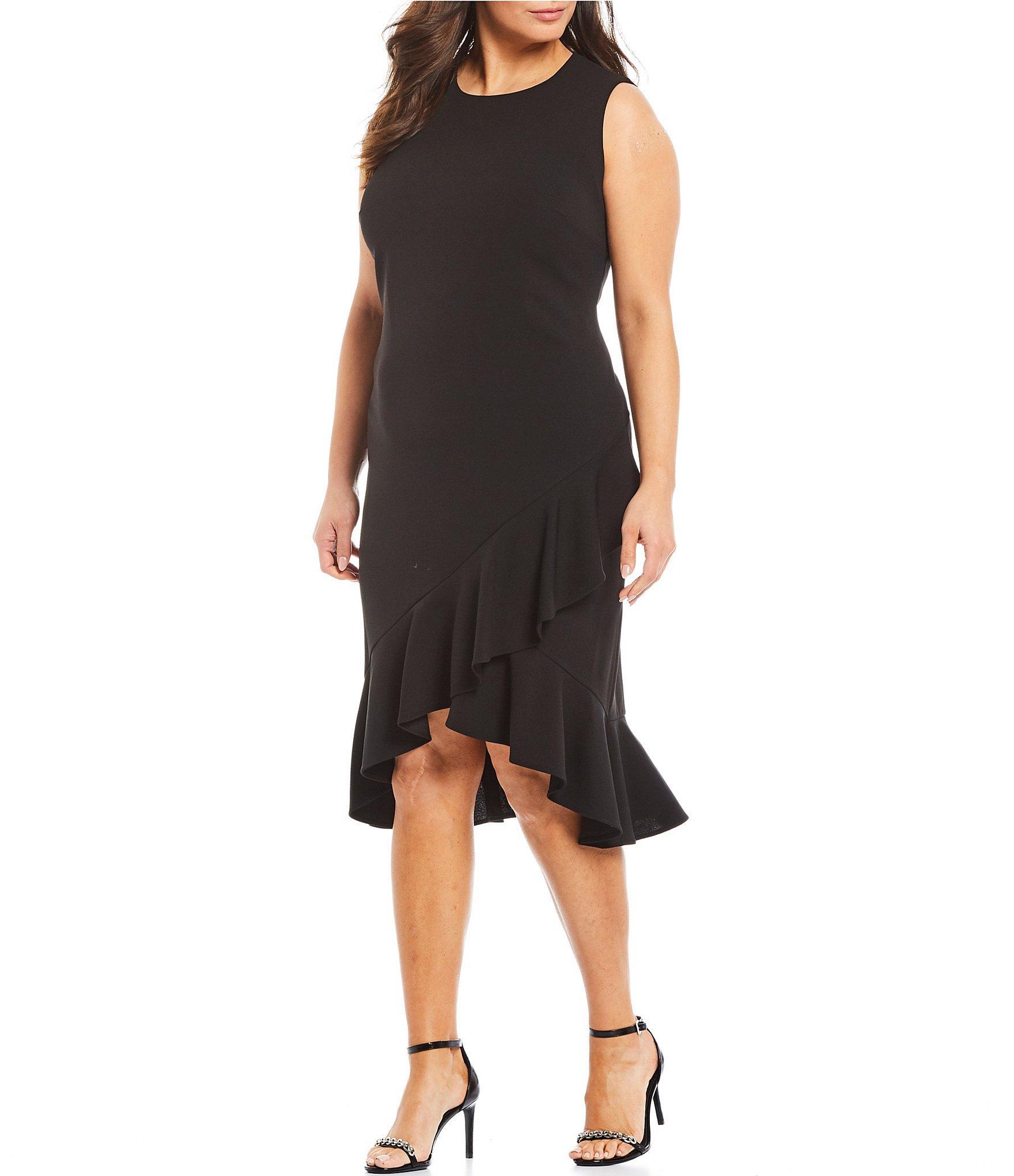 ad5c89034a3 Calvin Klein. Women s Black Plus Size Sleeveless Asymmetrical Ruffle Sheath  Midi Dress