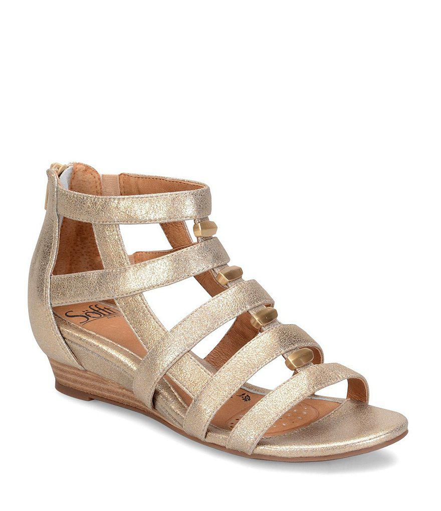Rio Leather Caged Metal Detail Gladiator Wedges 8lIWY