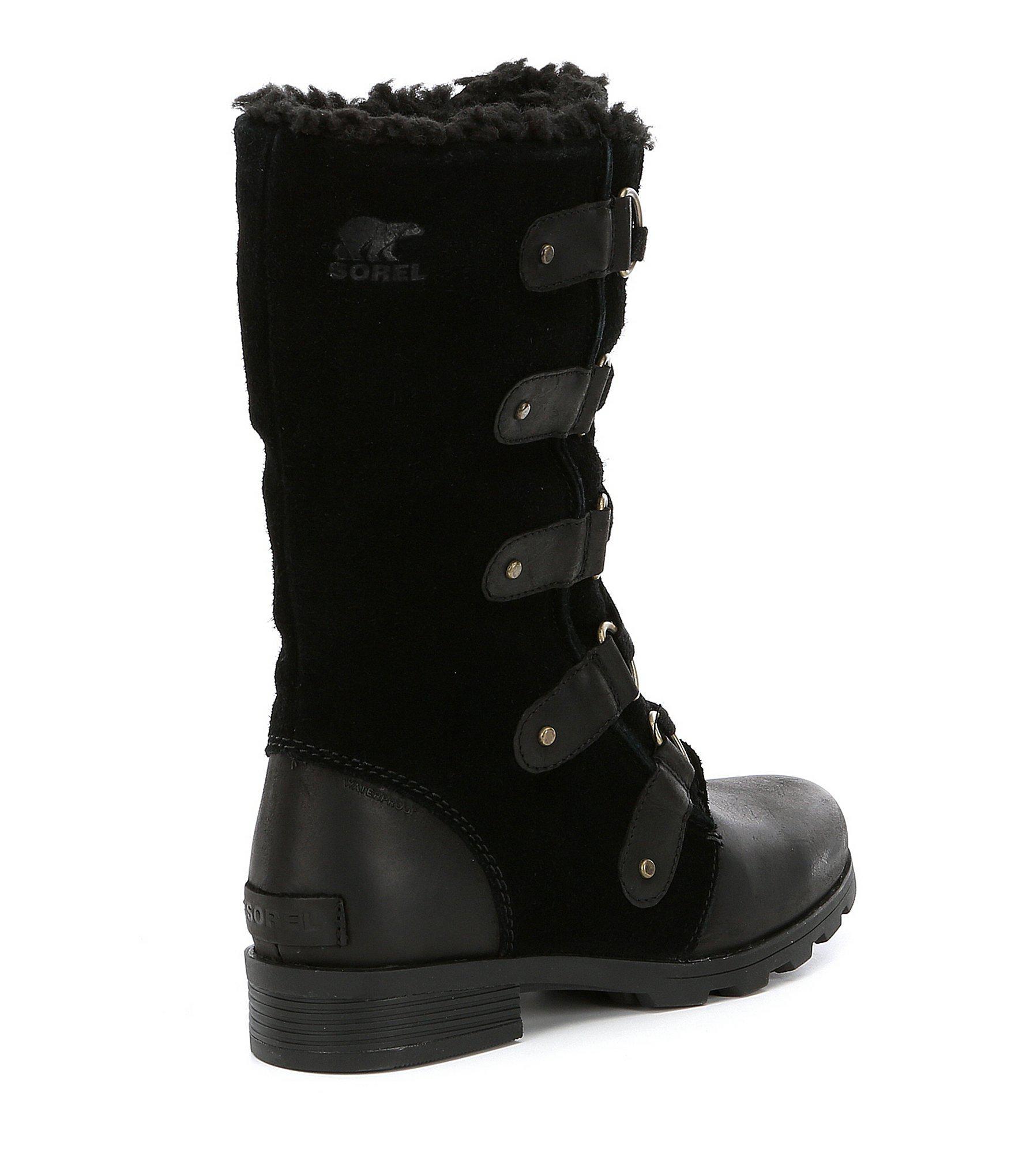 c20416a23bd Sorel Women's Emelie Lace Mid Winter Waterproof Faux Fur Block Heel ...