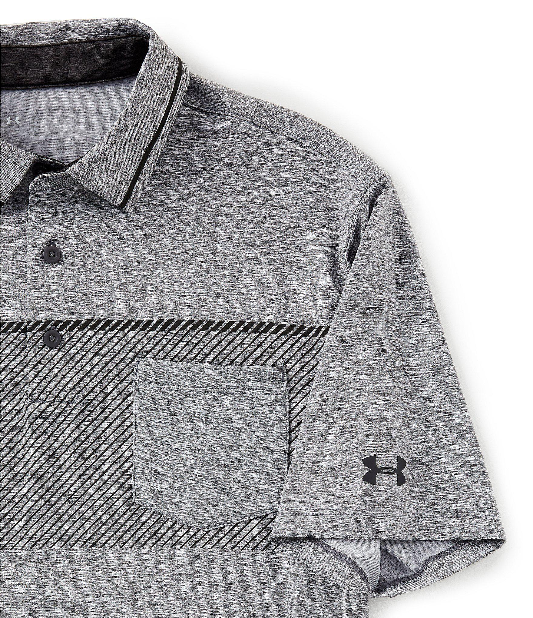 0609b9835 Under Armour - Gray Golf Short-sleeve Playoff Pocket Polo for Men - Lyst.  View fullscreen