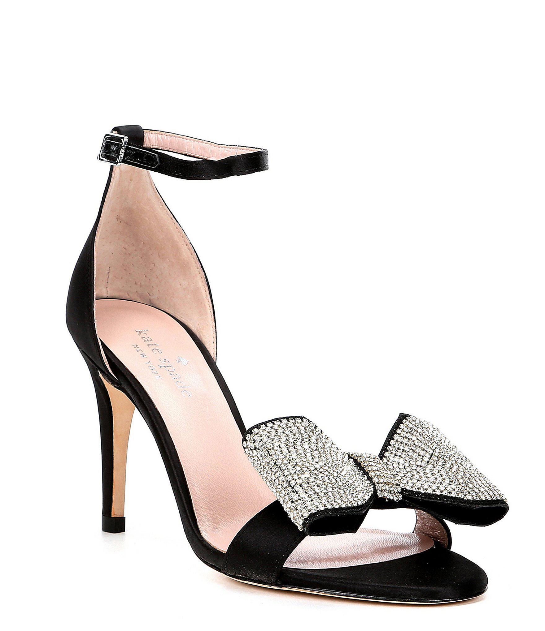 0c562c00a599 Lyst - Kate Spade Gweneth Satin Bow Dress Sandals in Black