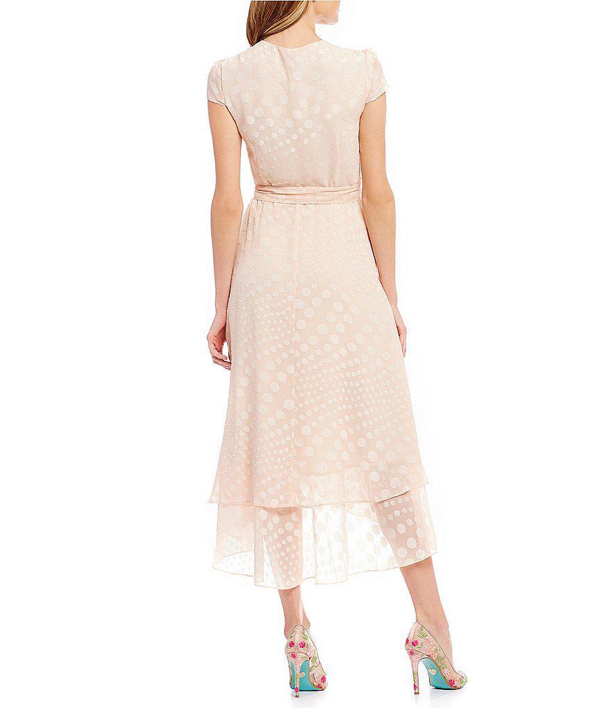 53dc7859db3 Betsey Johnson Tonal Polka Dot Print Tie Waist Ruffle Wrap Style ...