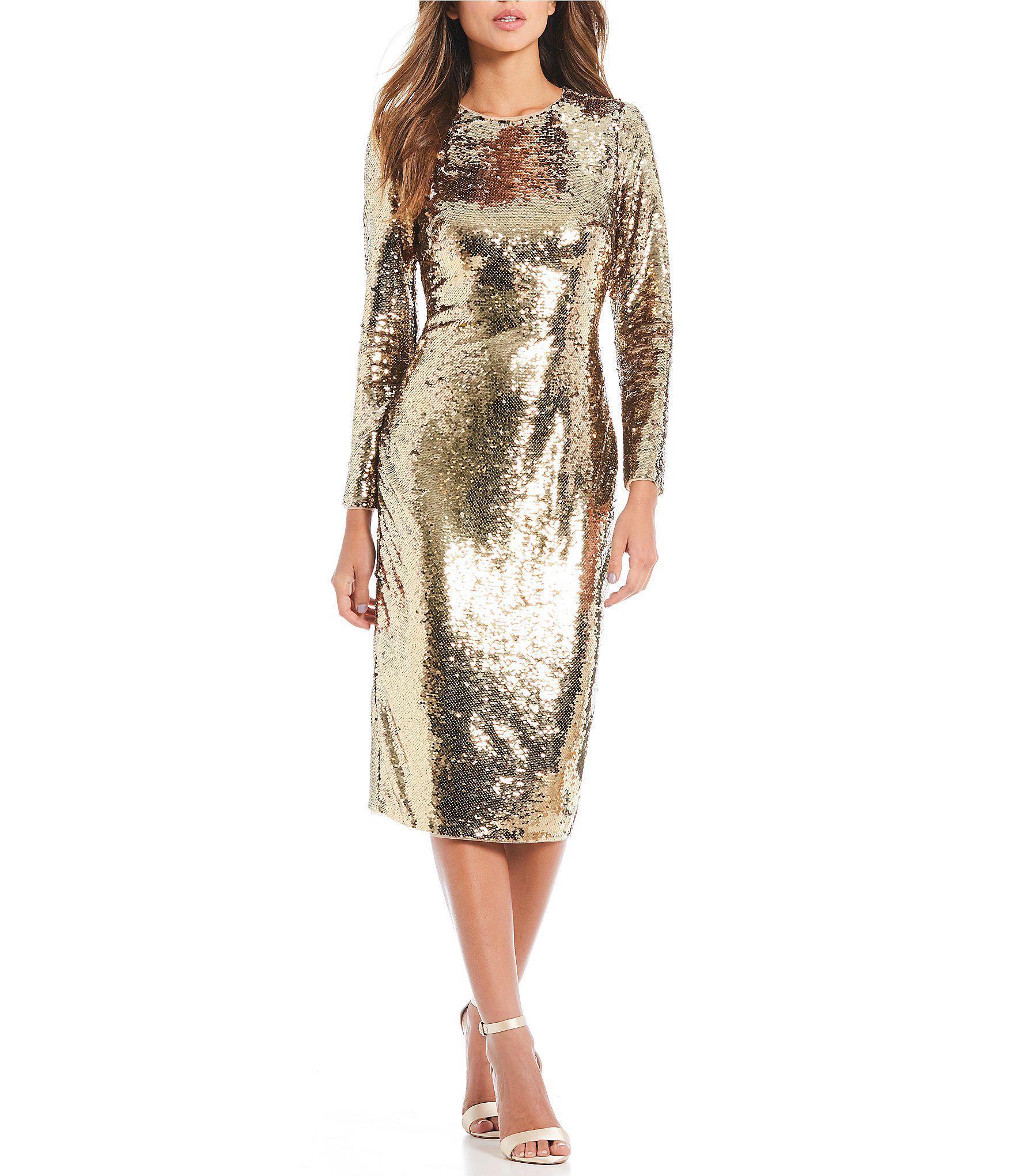 0ff69018a2 Gianni Bini Zoe Metallic Sequin Midi Dress in Metallic - Lyst