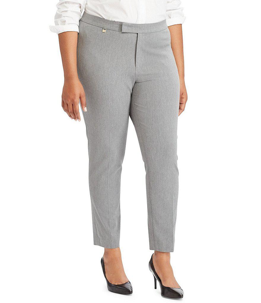 411993862367 Lauren by Ralph Lauren Plus Stretch Twill Skinny Pant in Gray - Lyst