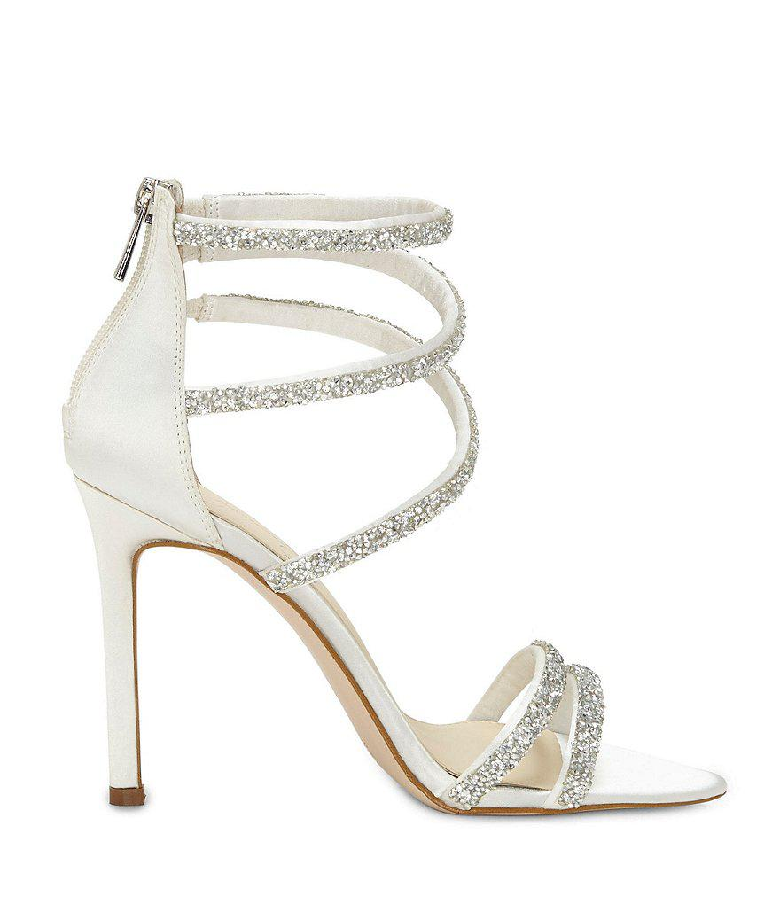 Jamalee Caviar Rhinestone Ornamented Strappy Dress Sandals bH25Xd