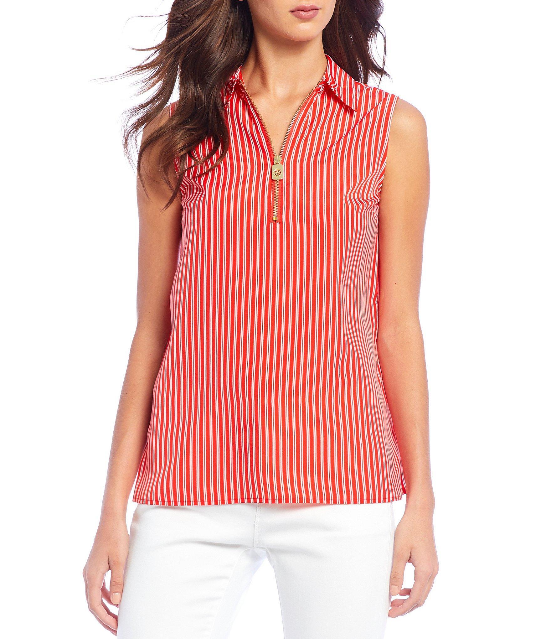 ba43b9b1849 MICHAEL Michael Kors. Women s Red Mini Railroad Stripe Print Sleeveless ...