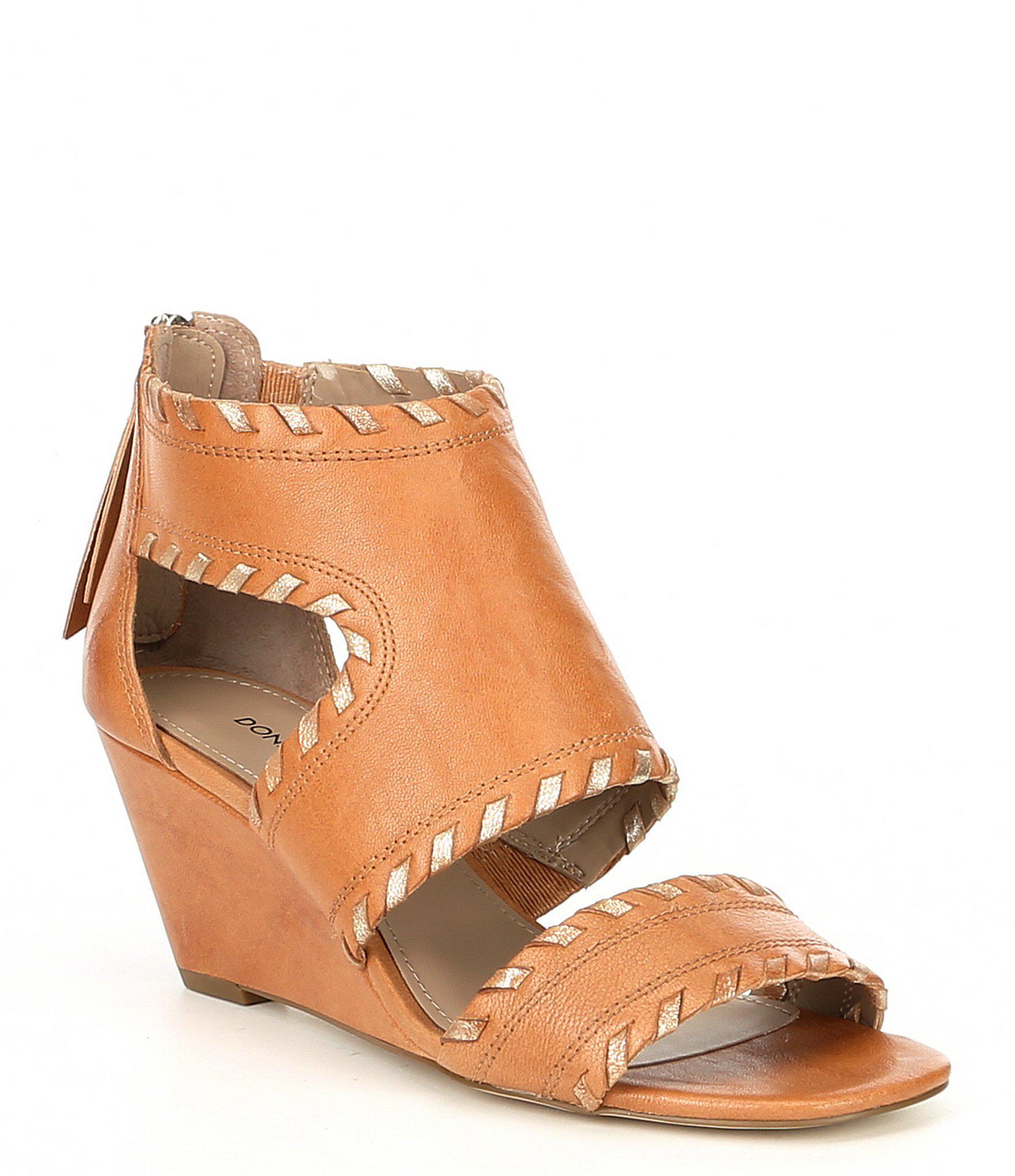 93d08acf89f Lyst - Donald J Pliner Sami Vintage Leather Wedge Sandals in Natural