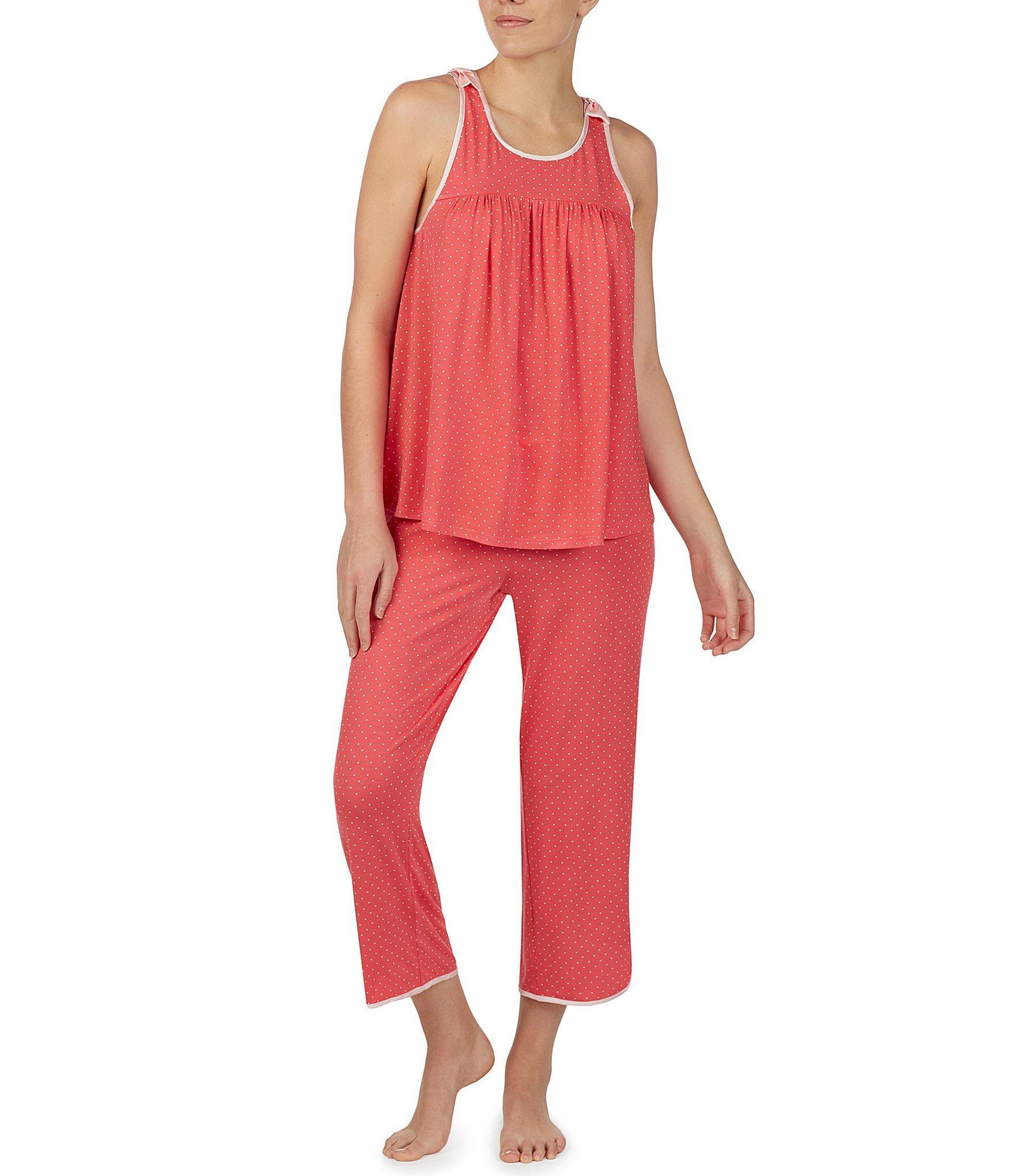 ff6f704e243e Kate Spade. Women s Dot-print Jersey Cropped Pajama Set