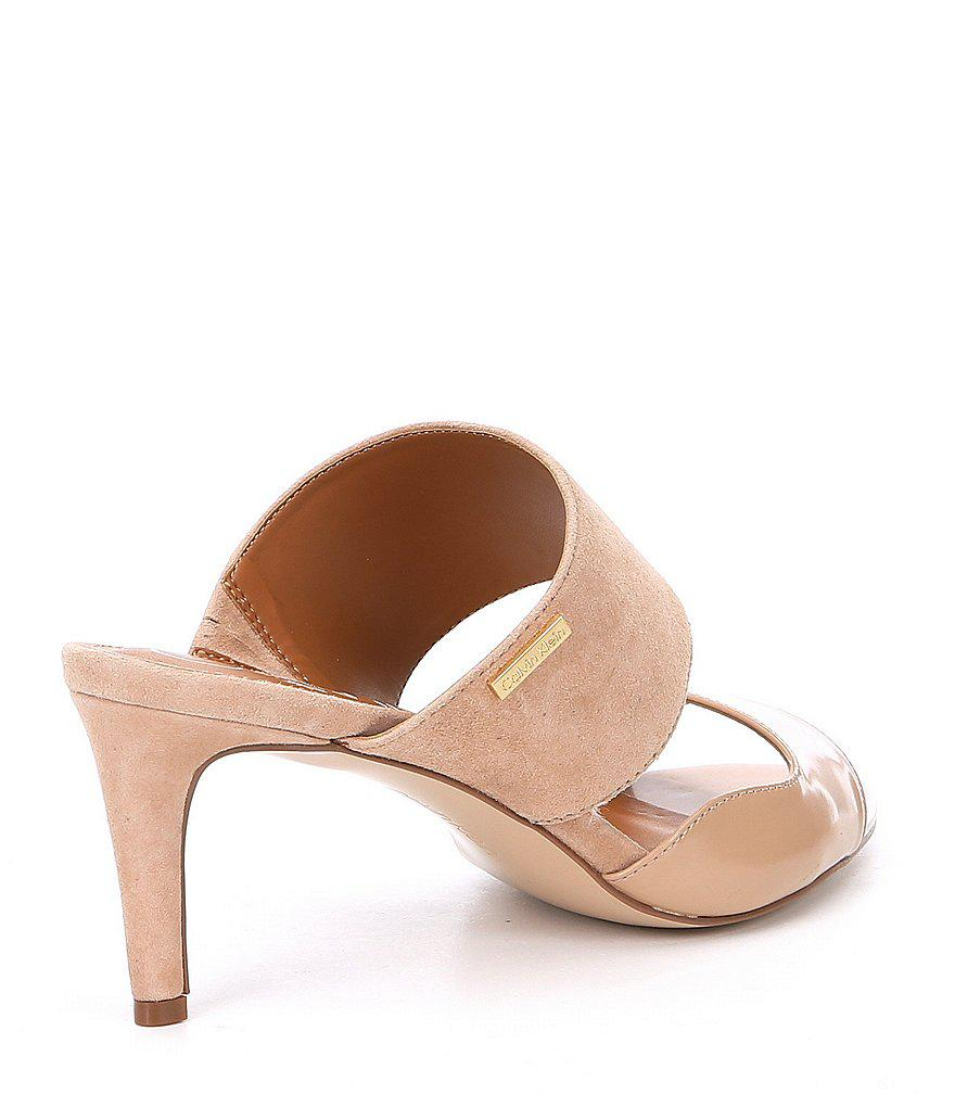 Calvin Klein Clementine Suede and Leather Banded Slide Dress Sandals YE8VKR