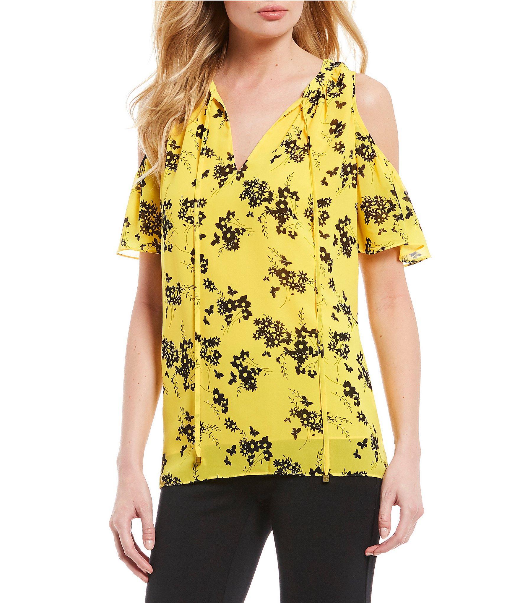 ab25867e8c9ef MICHAEL Michael Kors. Women s Yellow Bold Botanical Print Tie-neck Cold-shoulder  Top