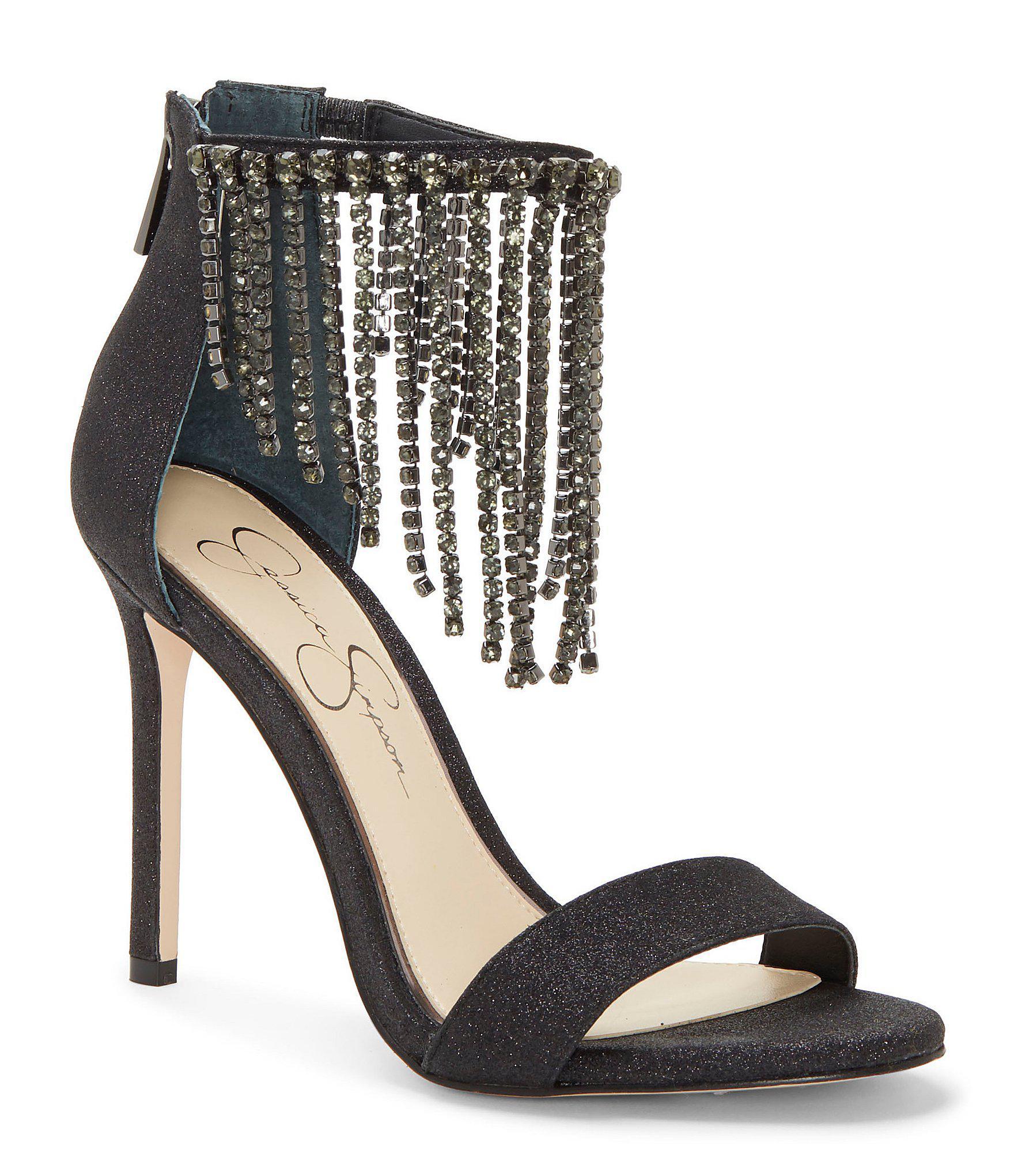 c54e2ec93e4d Lyst - Jessica Simpson Jiena Rhinestone Fringe Dress Sandals in Black