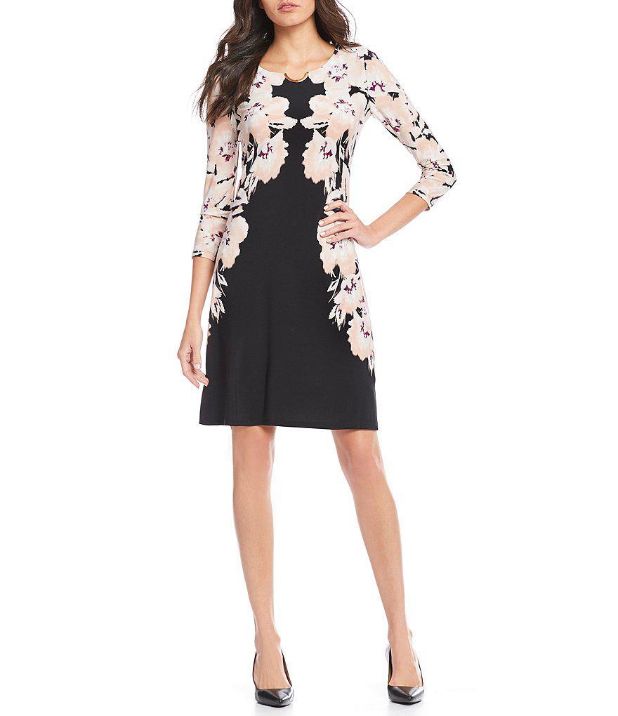 1fd113dc630 Calvin Klein Mirror Image Floral Print Matte Jersey Shift Dress in ...