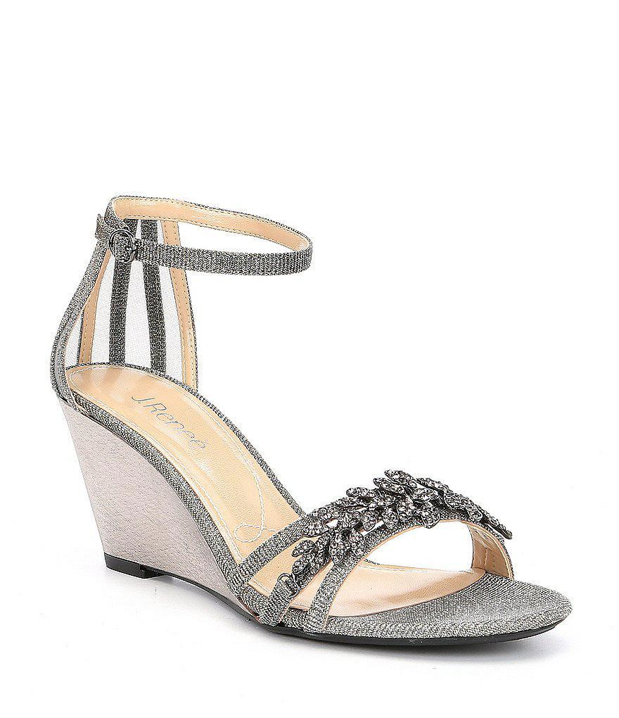 J. Renee Mariabella Satin and Mesh Rhinestone Ornament Ankle Strap Dress Wedges Baj4o