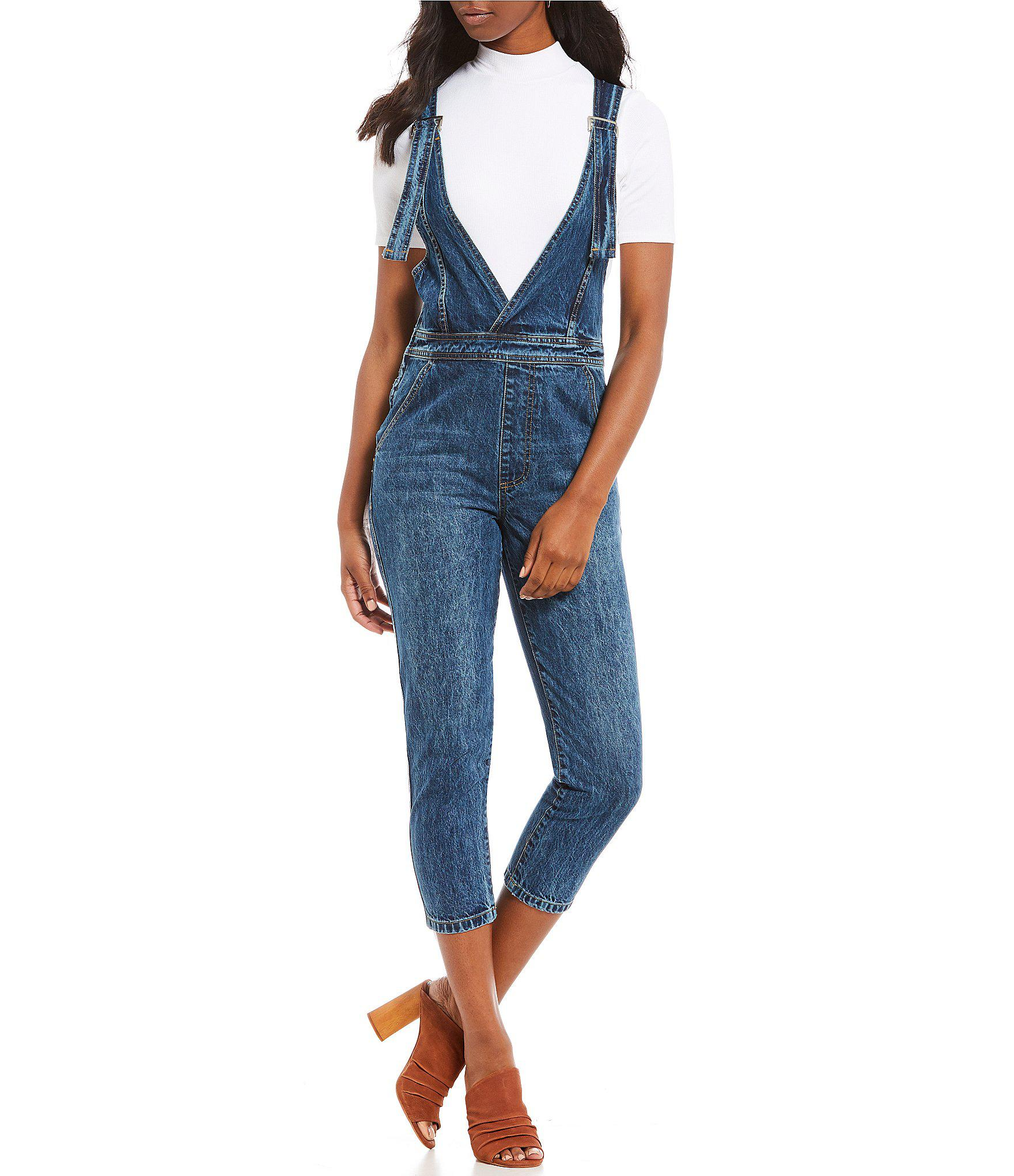 ea810a1367cb Lyst - Gianni Bini Linds Western Inspired Crop Denim Overalls in Blue
