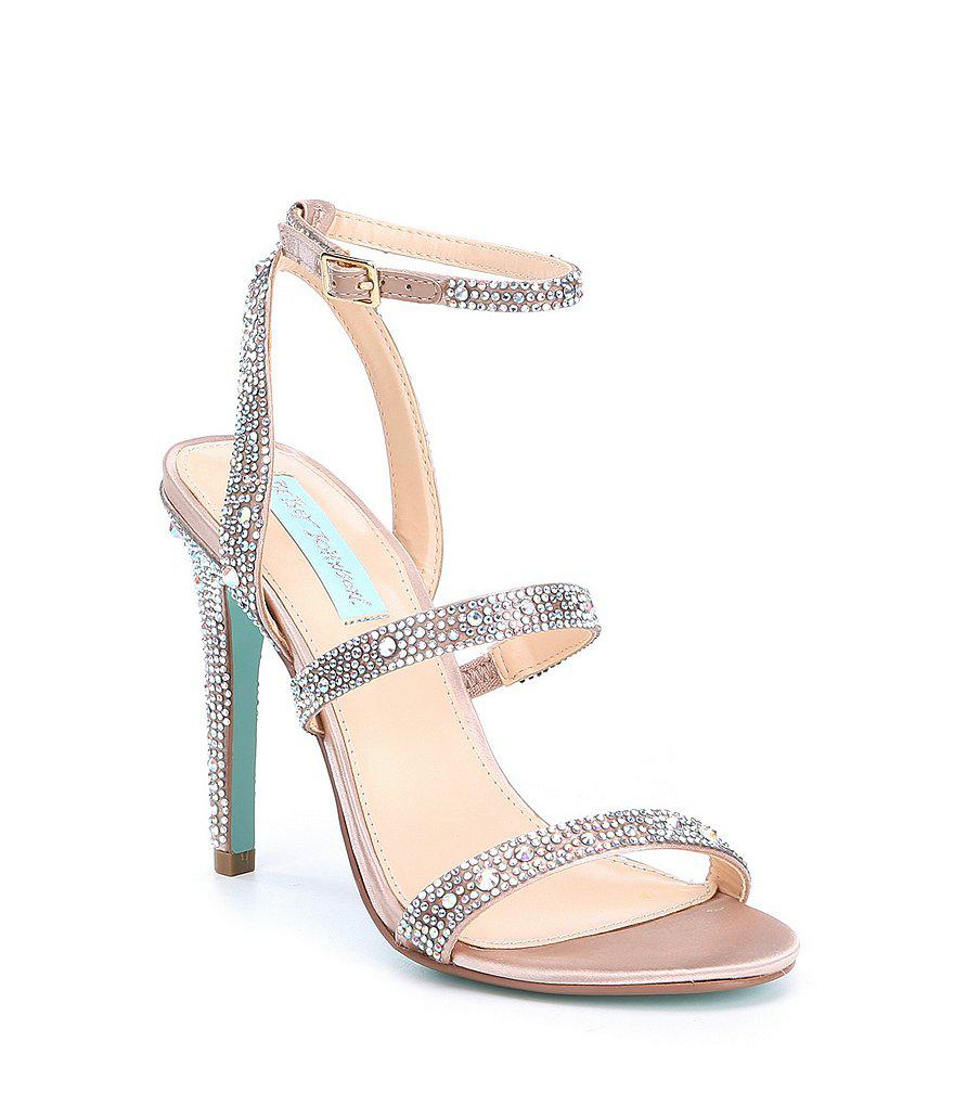 Blue by Betsey Johnson Arlyn Floral Jeweled Transparent Block Heel Dress Sandals N1fUDgY3