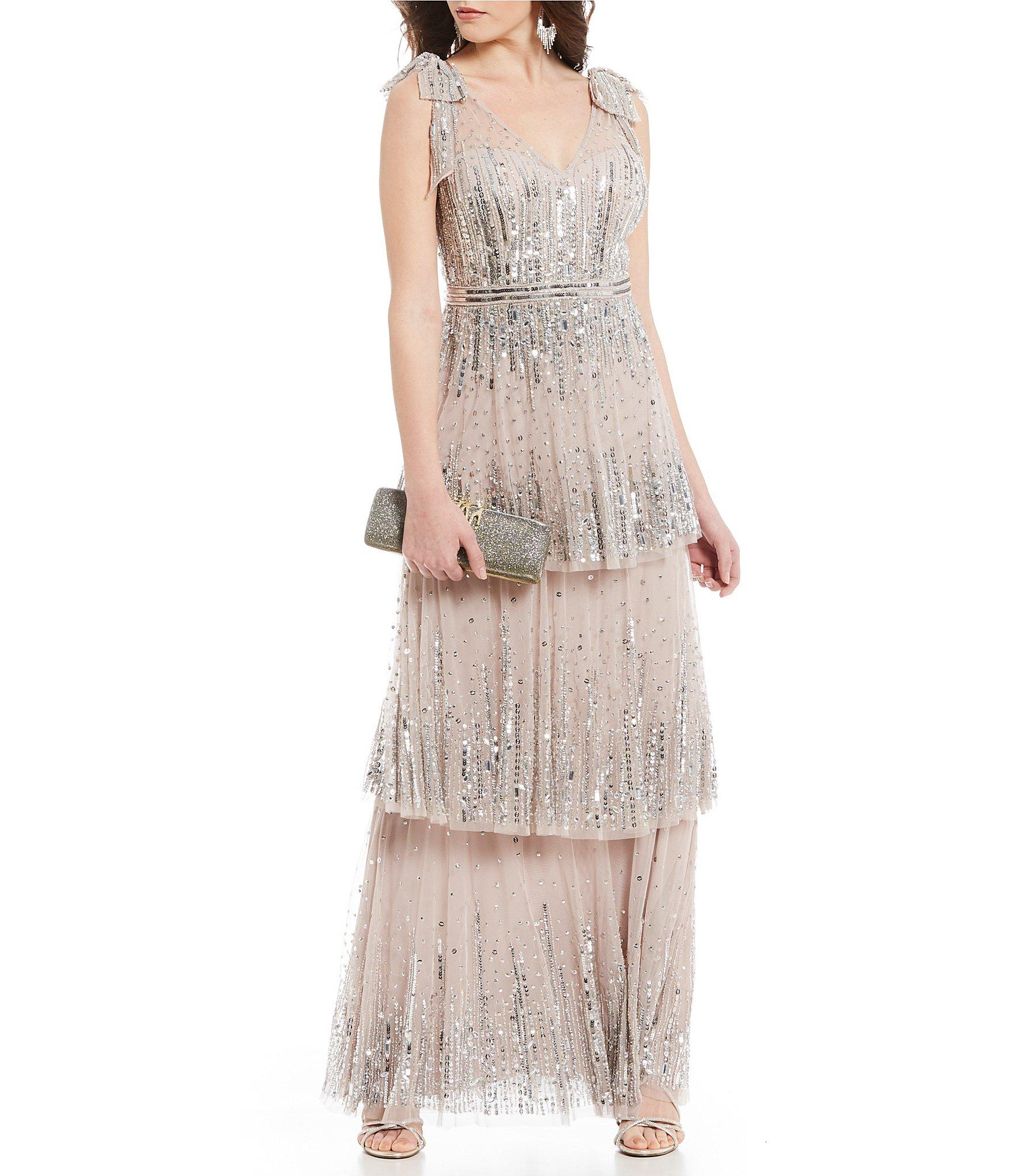 8b01ad57796 Gianni Bini Skyler Illusion Mesh Tiered Sequin Bow Detail Gown - Lyst