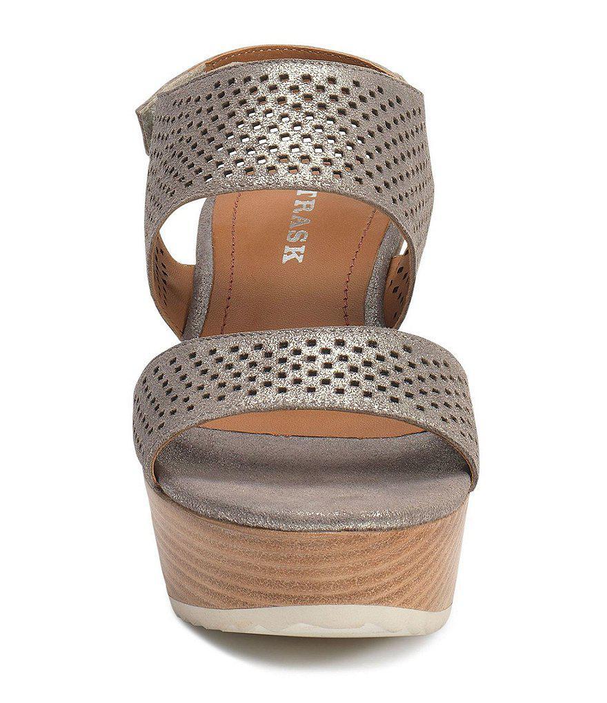 Phoebe Perforated Slingback Platform Wedge Sandals A7UVWVaBk