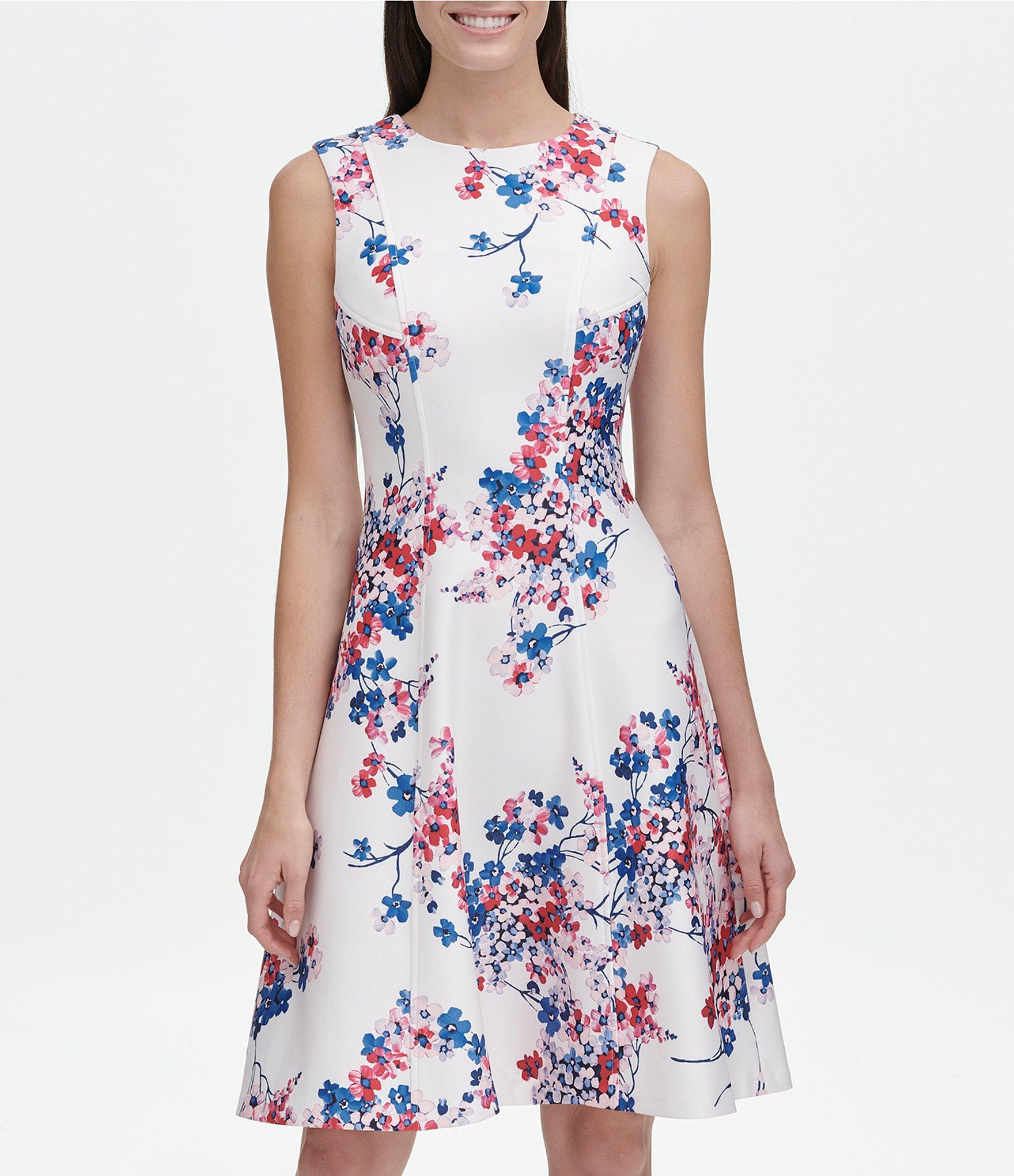 c4a3de53ae44 Tommy Hilfiger - Blue Eloise Floral Print Sleeveless Scuba Fit   Flare Dress  - Lyst. View fullscreen