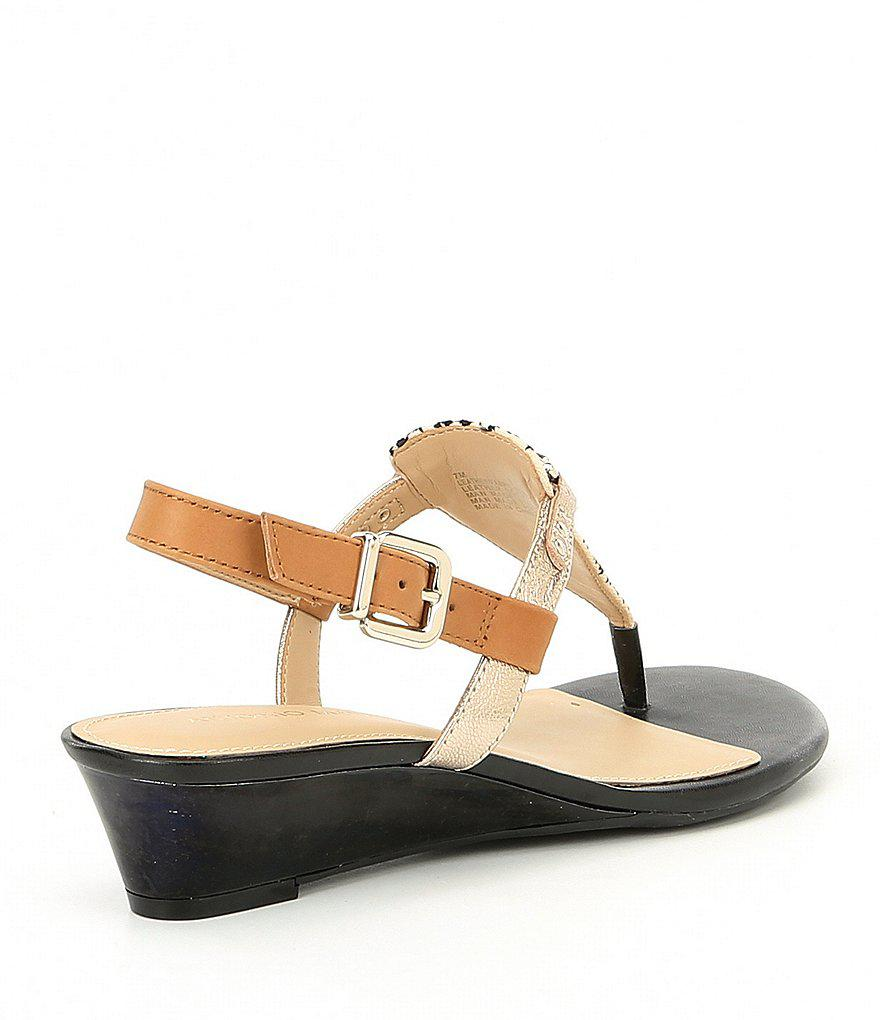 617808b43fd Lyst - Antonio Melani Amirah Canvas Wedge Thong Sandals in Natural