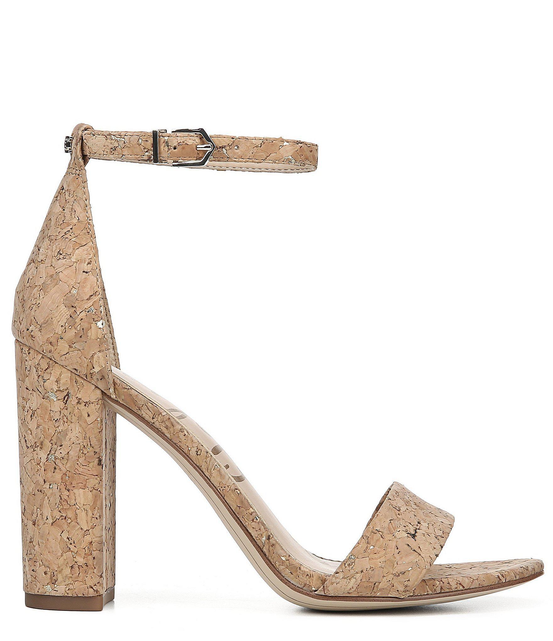 f20777786 Lyst - Sam Edelman Yaro Metallic Cork Block Heel Dress Sandals in ...