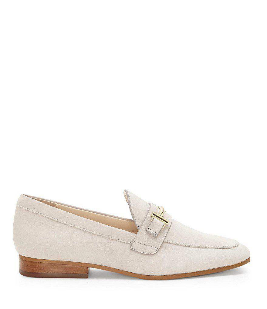 Enzo Angiolini Tatye Leather Gold Bit Embellishment Block Heel Loafers UIsX8BfqYj