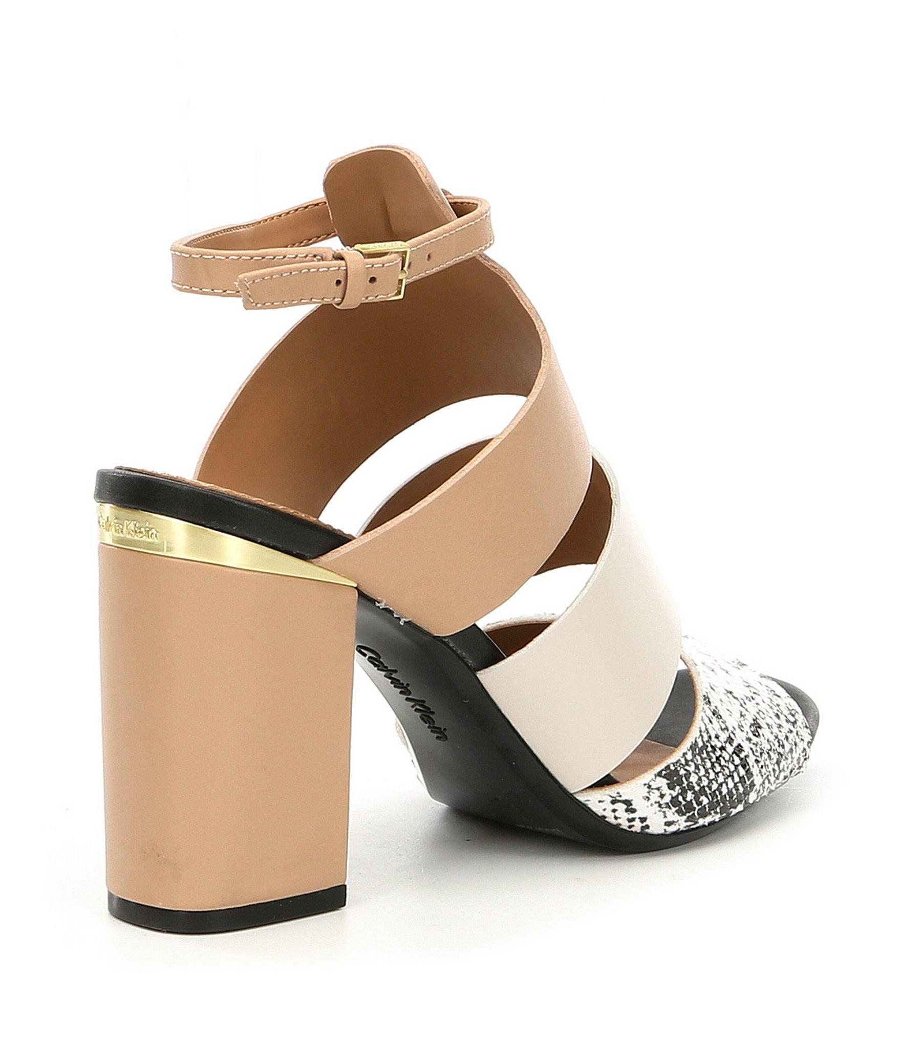 a59695f324a Lyst - Calvin Klein Caran Colorblock Snake Print Block Heel Dress ...