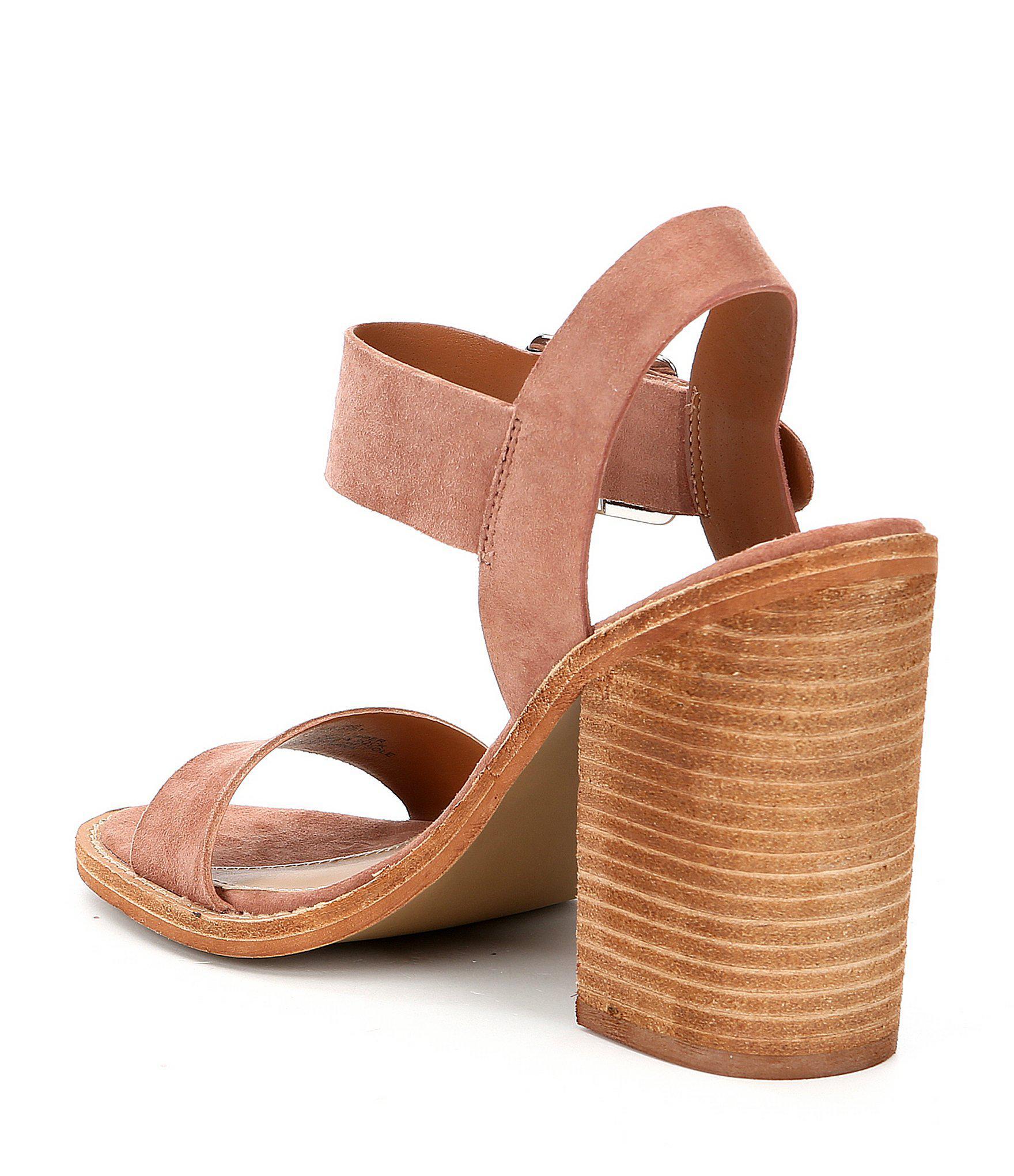 38467195279 Lyst - Steve Madden Castro Suede Buckled Block Heel Sandals