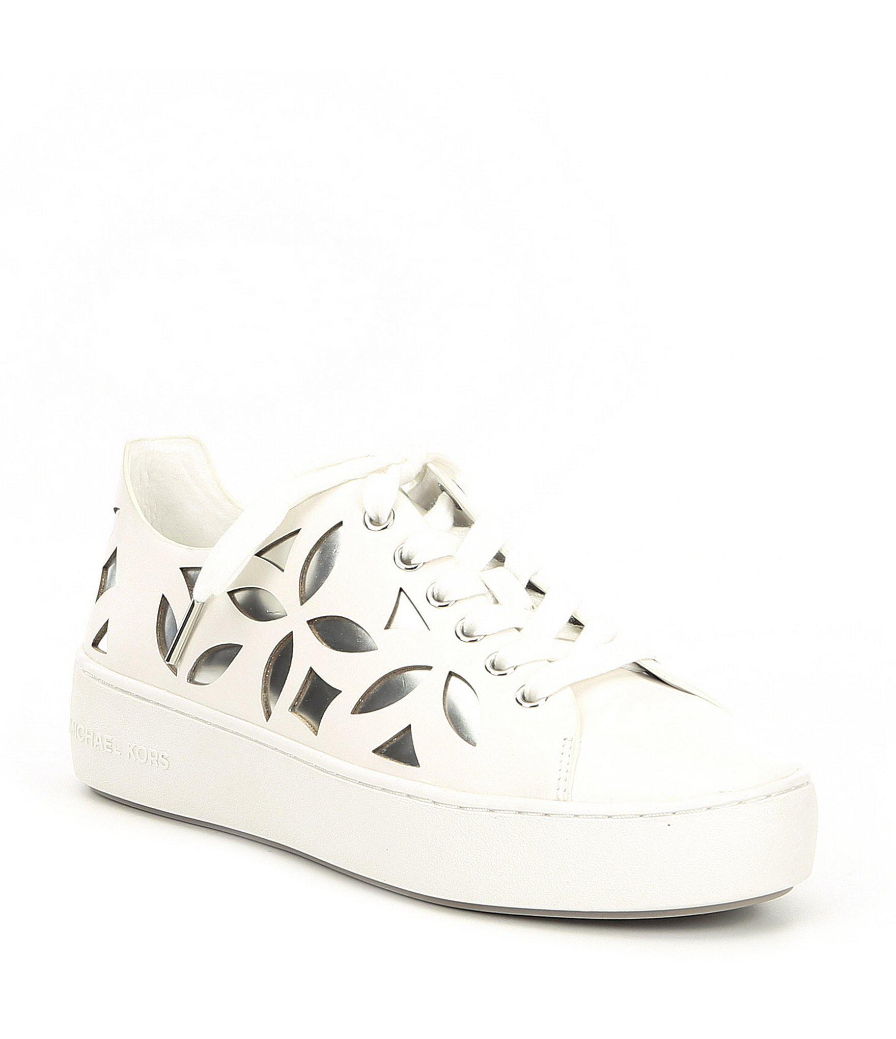 Perforated Leather Kors Sneakers Michael Mimi Up Lace In fb7gIY6yv