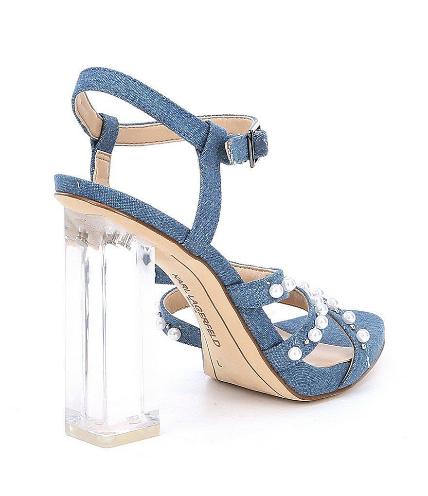 KARL LAGERFELD PARIS Lara7 Denim Pearl Detail Block Heel Strappy Dress Sandals Fatj2KQVl