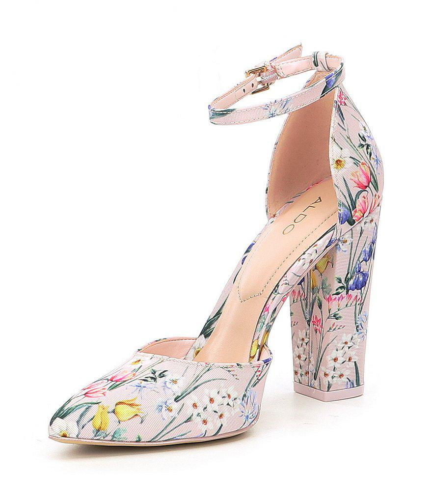 Nicholes Two-Piece Floral Print Ankle Strap Block Heel Pumps cFD5WQQzl