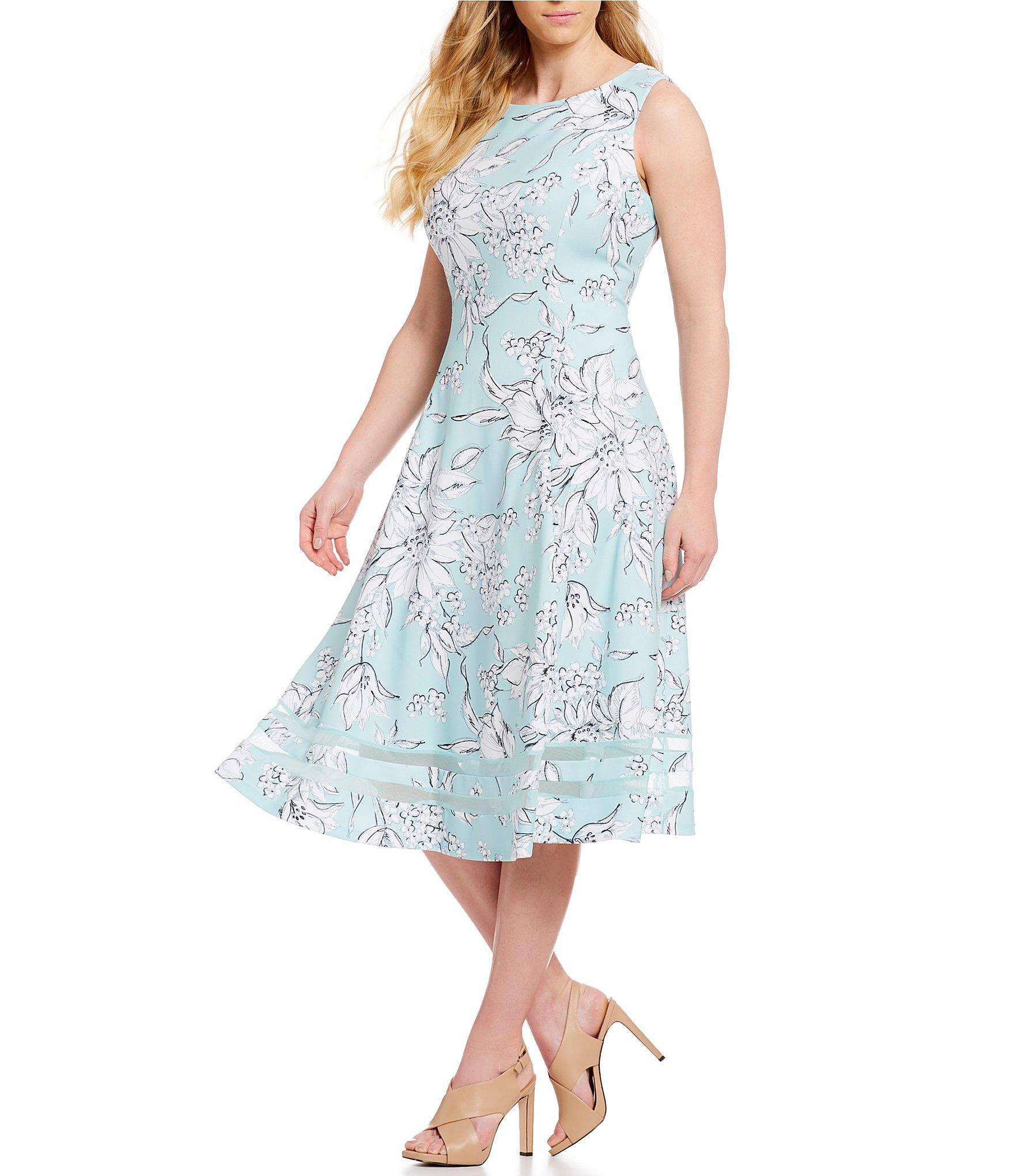 1fb54c2806e Calvin Klein Plus Size Sketch Floral Print Fit & Flare Illusion Hem ...