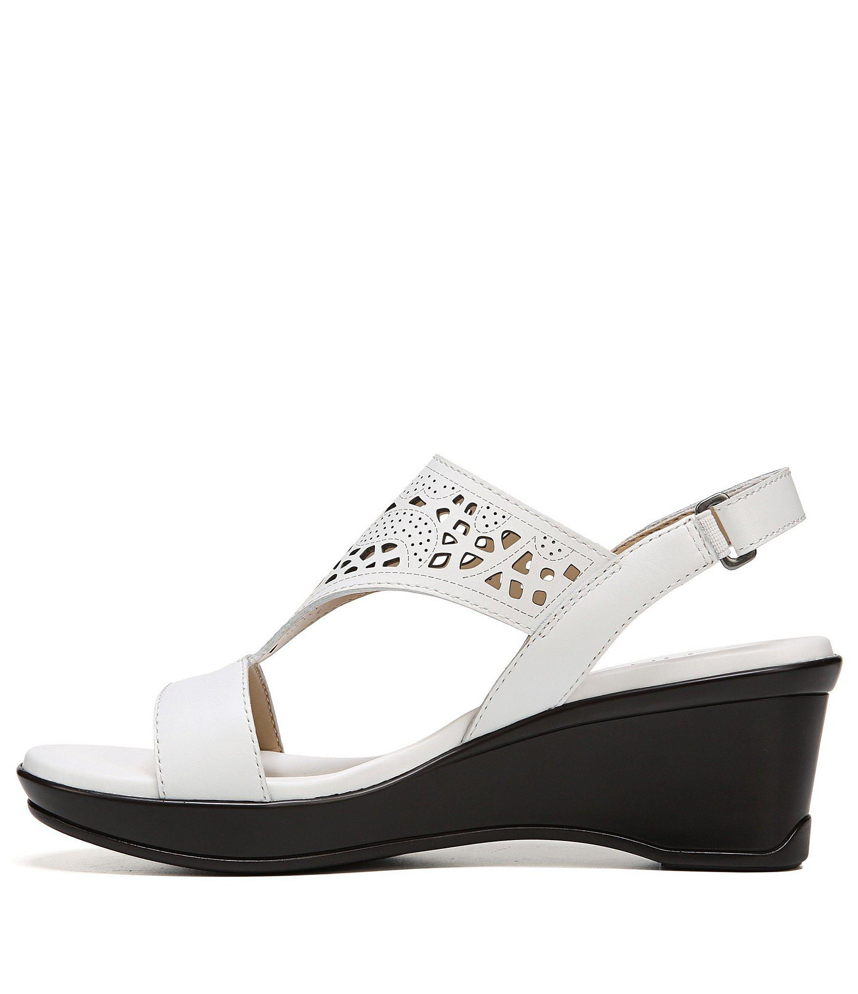 11d7c7d4418 Naturalizer - White Veda Wedge Sandals - Lyst. View fullscreen