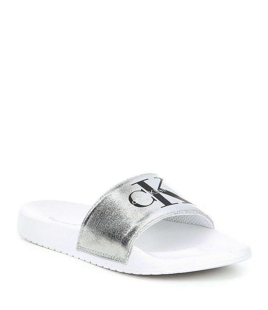 Chantal Metallic Canvas Slides HEcLzDcL