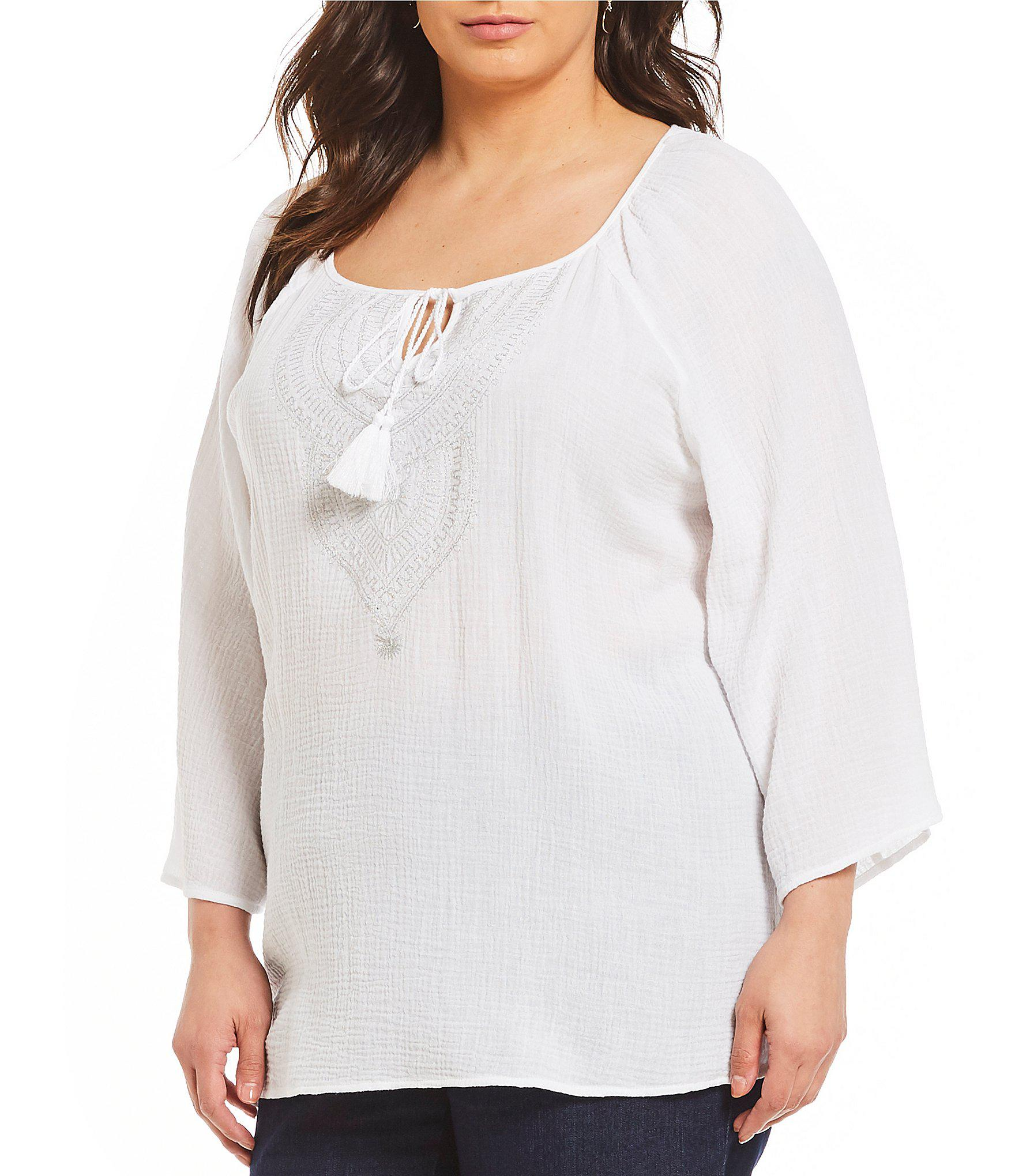 71ace77aca45ba Ruby Rd. Plus Size 3/4 Sleeve Solid Embellished Double Gauze Top in ...