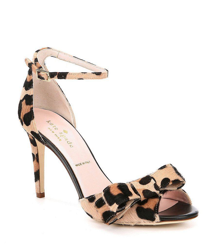 Ismary Leopard Print Calf Hair Bow Dress Sandals b12cs