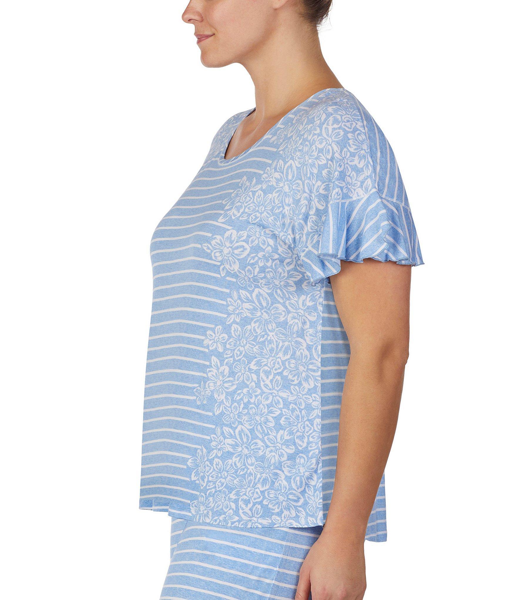 a5b542a45f Kensie - Blue Plus Floral   Stripe Print Jersey Knit Sleep Top - Lyst. View  fullscreen